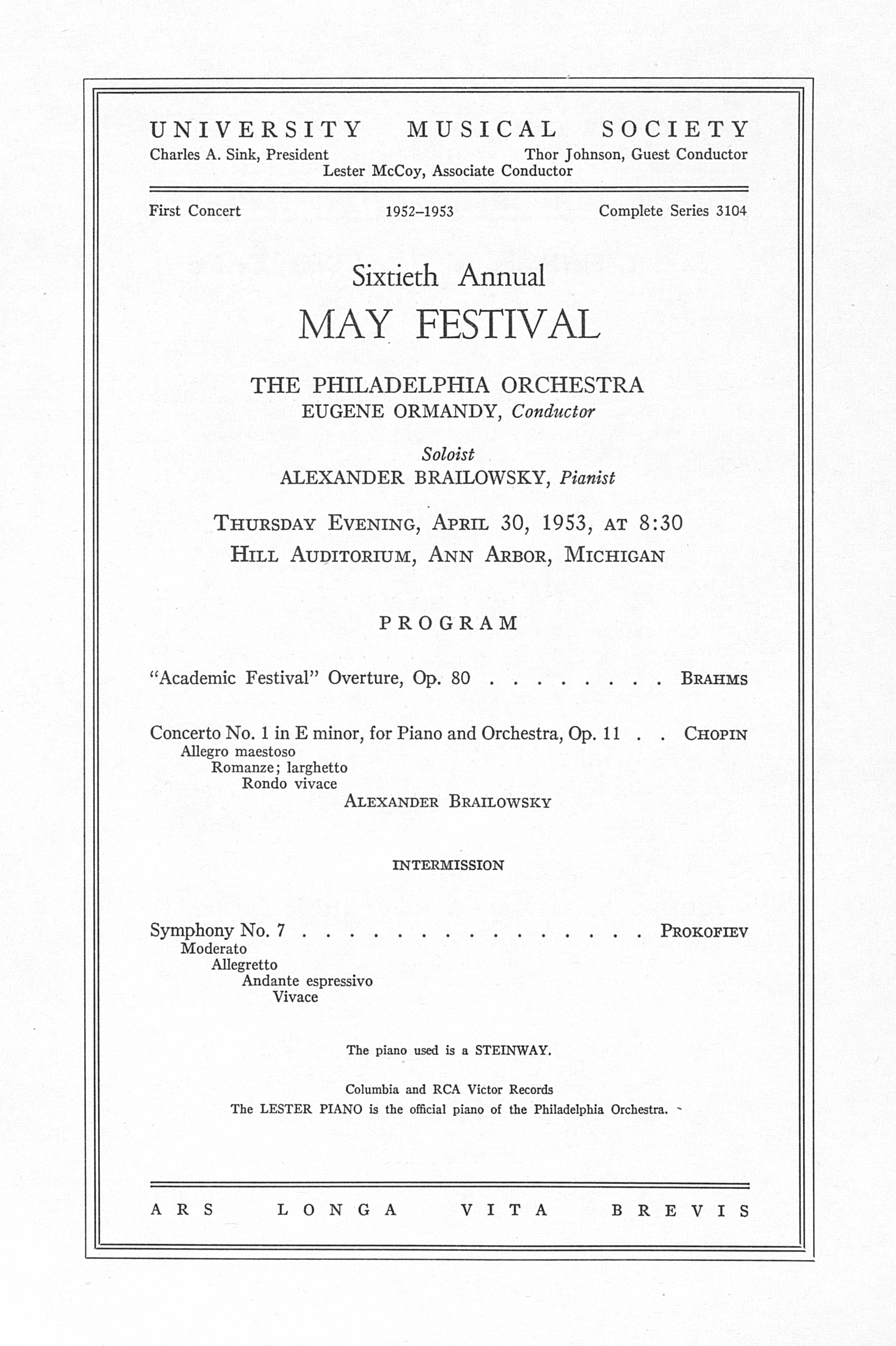 UMS Concert Program, April 30, 1953: Sixtieth Annual May Festival -- The Philadelphia Orchestra image