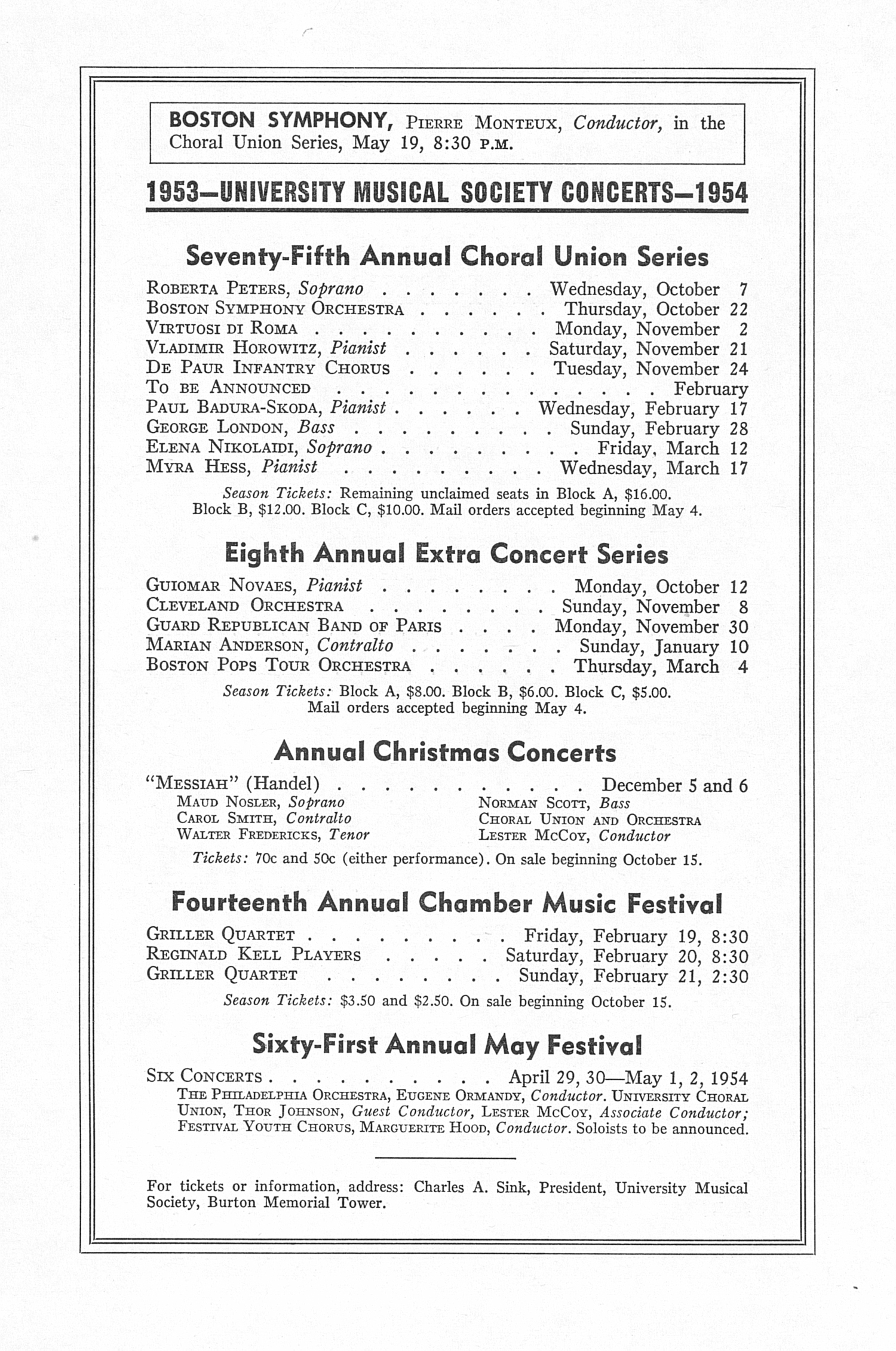 UMS Concert Program, May 2, 1953: Sixtieth Annual May Festival -- The Philadelphia Orchestra image
