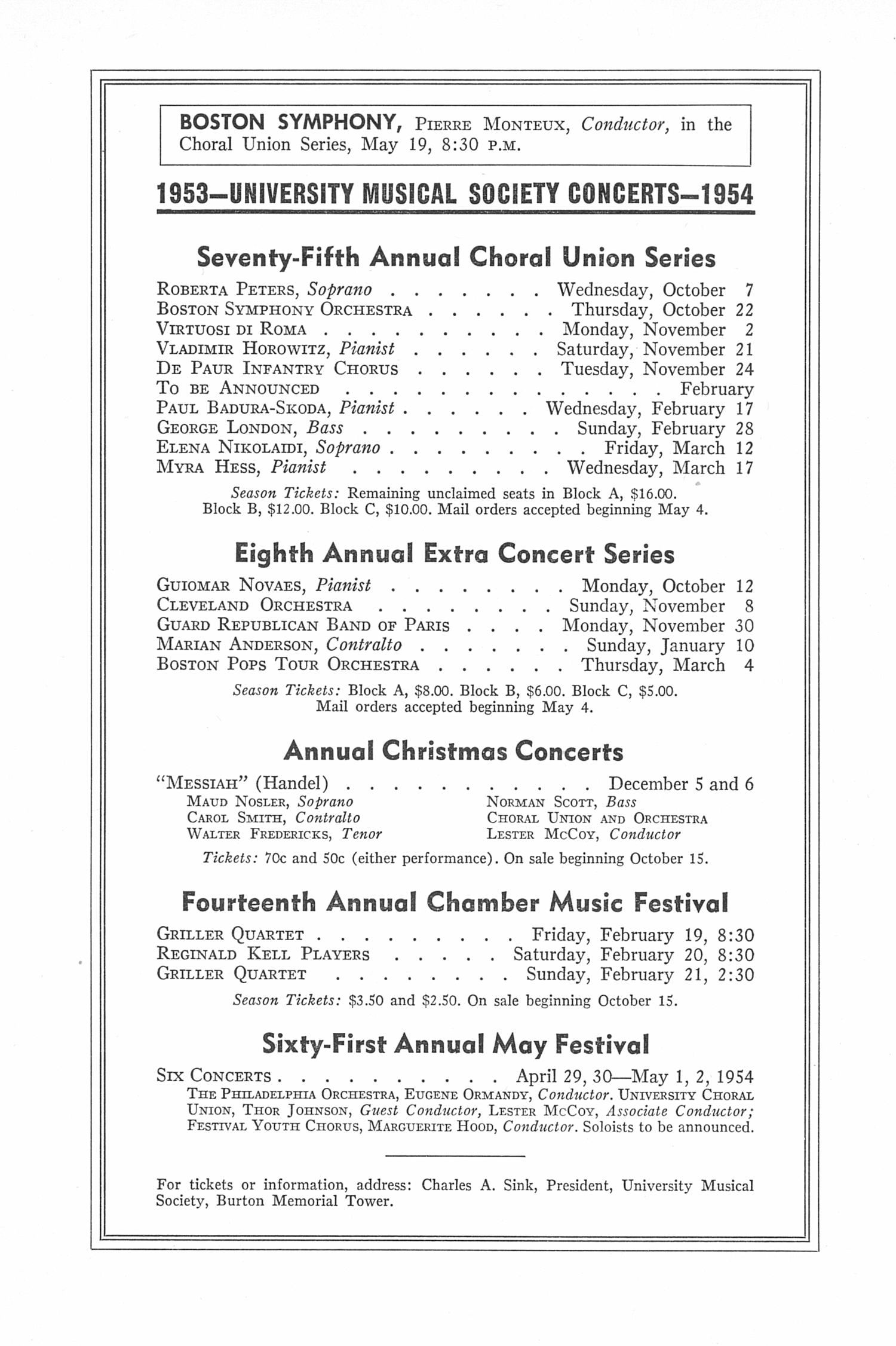 UMS Concert Program, May 3, 1953: Sixtieth Annual May Festival -- The Philadelphia Orchestra image