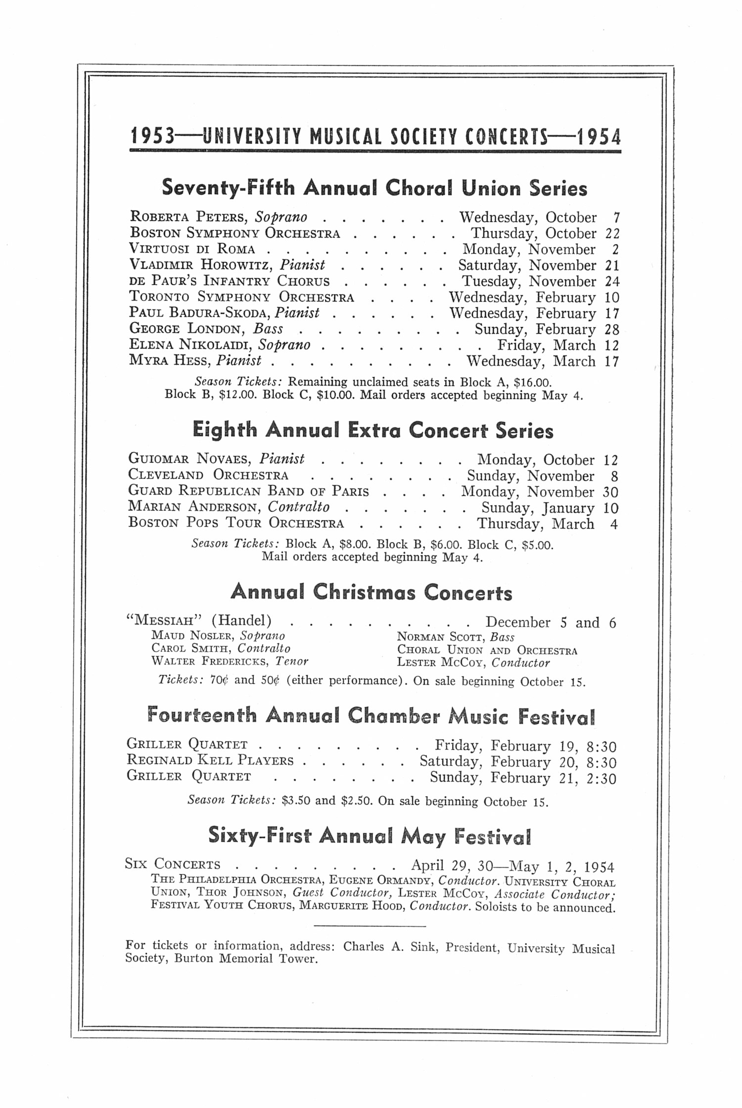 UMS Concert Program, May 19, 1953: Seventy-fourth Annual Choral Union Concert Series -- Boston Symphony Orchestra image