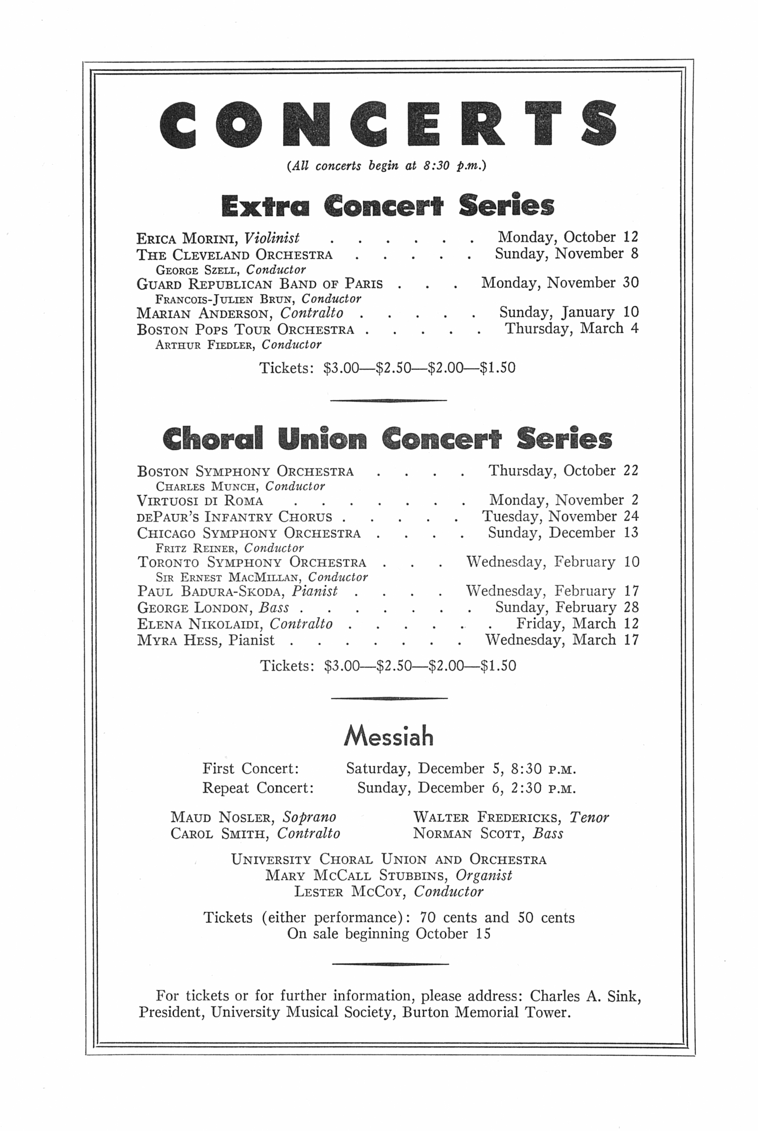 UMS Concert Program, October 7: Seventy-fifth Annual Choral Union Concert Series -- Roberta Peters image