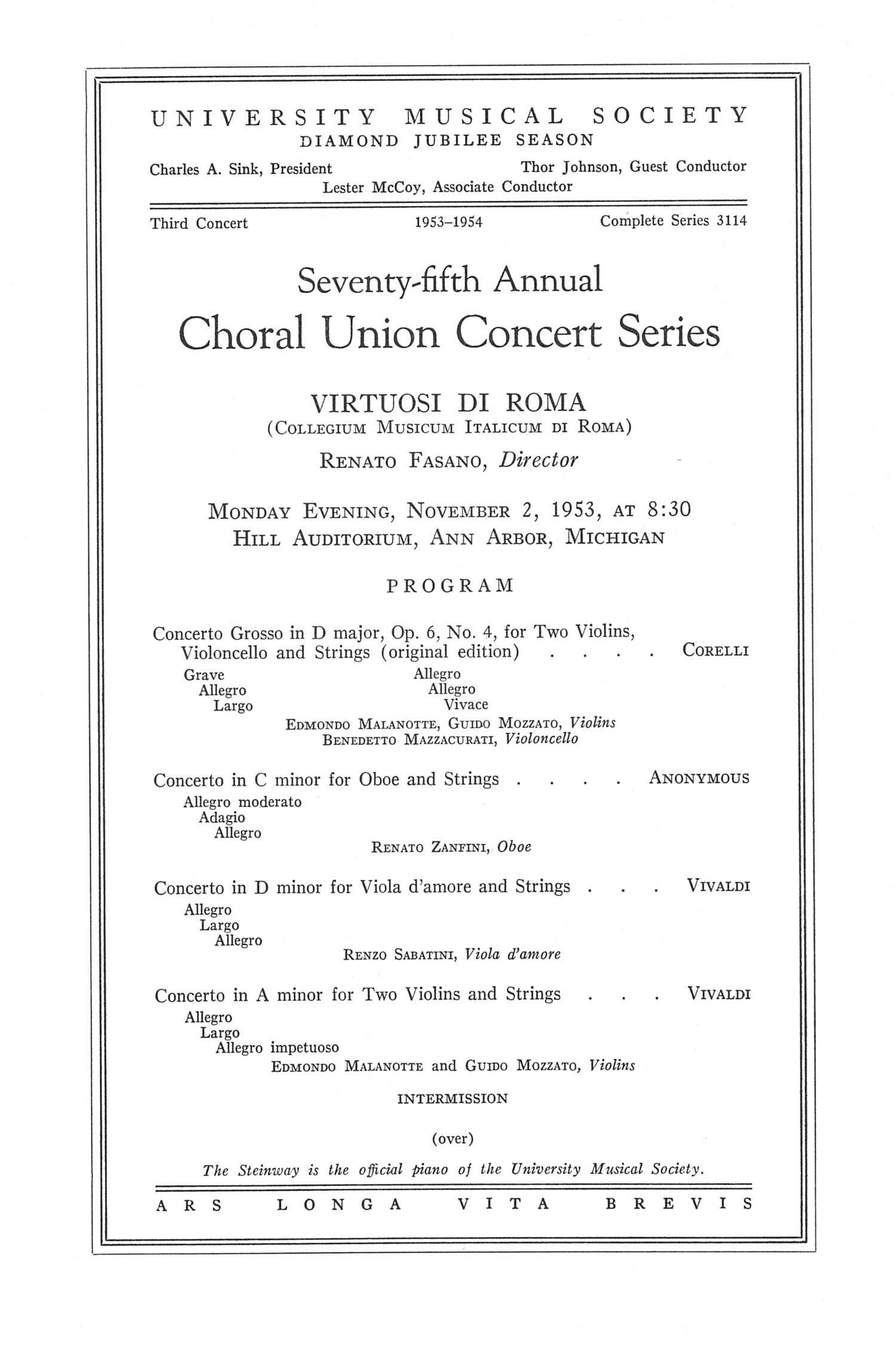 UMS Concert Program, November 2, 1953: Seventy-fifth Annual Choral Union Concert Series -- Renato Fasano image