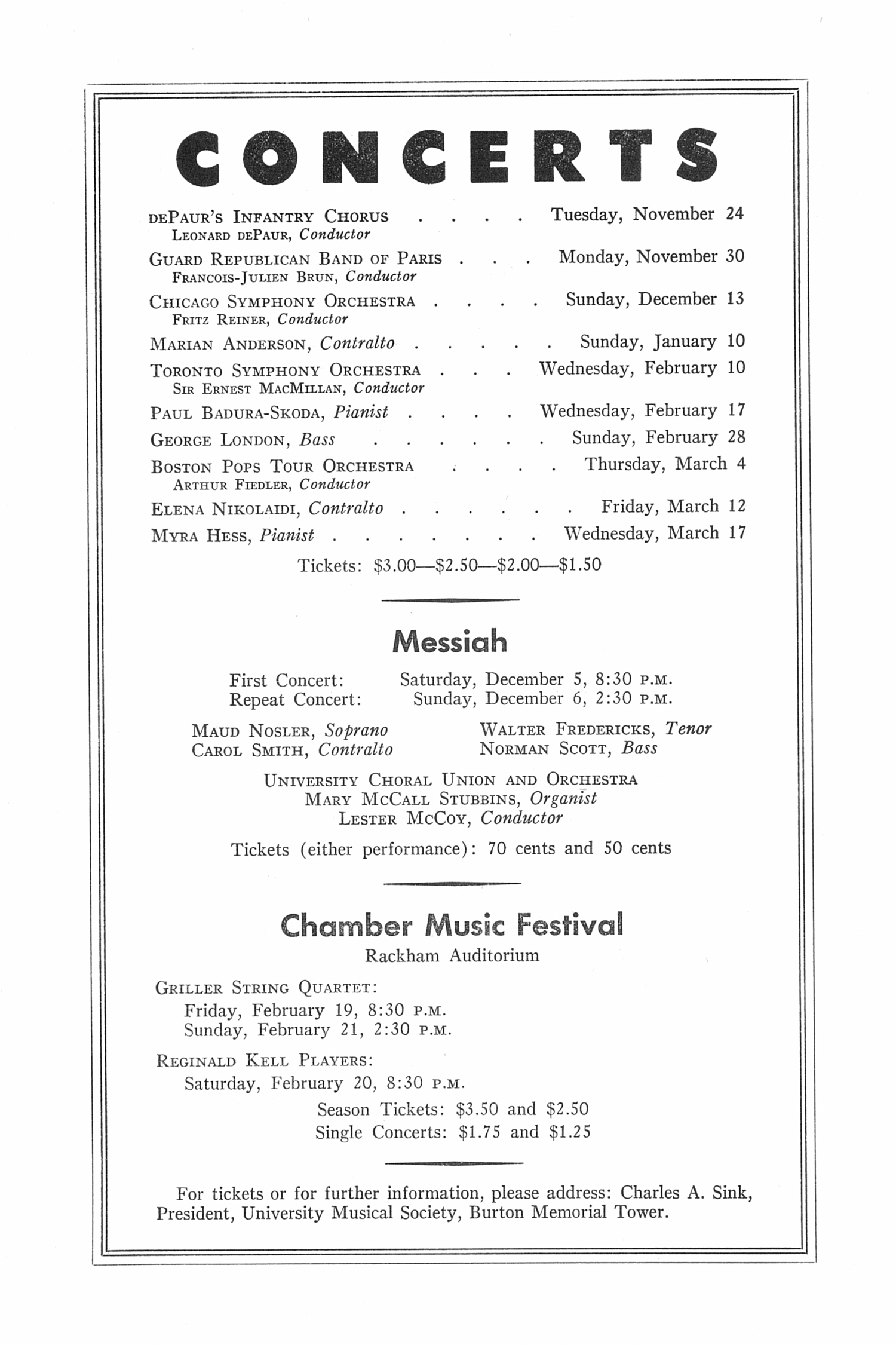 UMS Concert Program, November 8, 1953: Eighth Annual Extra Concert Series -- The Cleveland Orchestra image