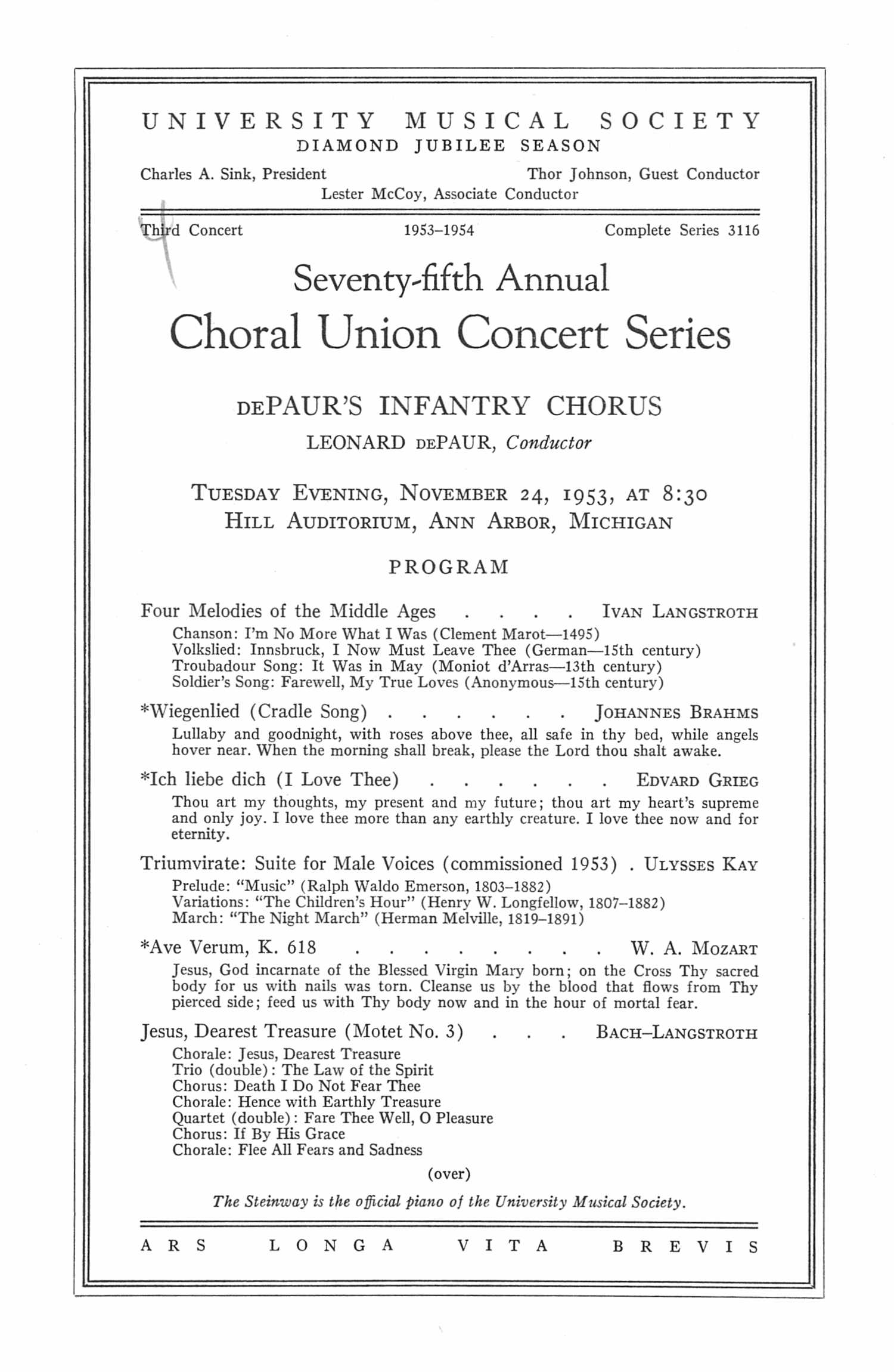 UMS Concert Program, November 24: Seventy-fifth Annual Choral Union Concert Series -- Leonard Depaur image