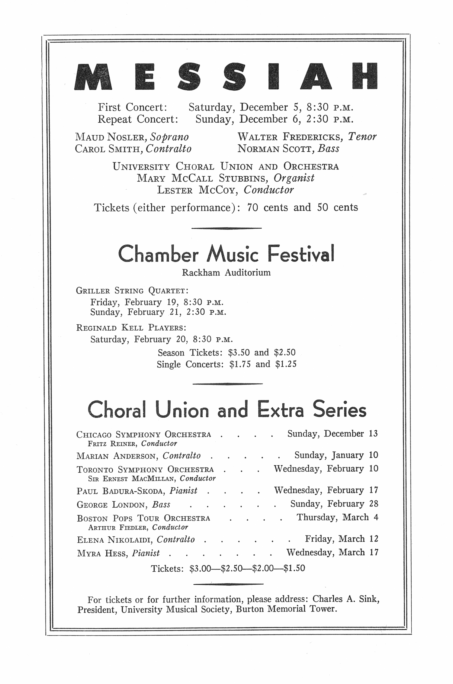 UMS Concert Program, November 30, 1953: Eighth Annual Extra Concert Series -- Guard Republican Band Of Paris image