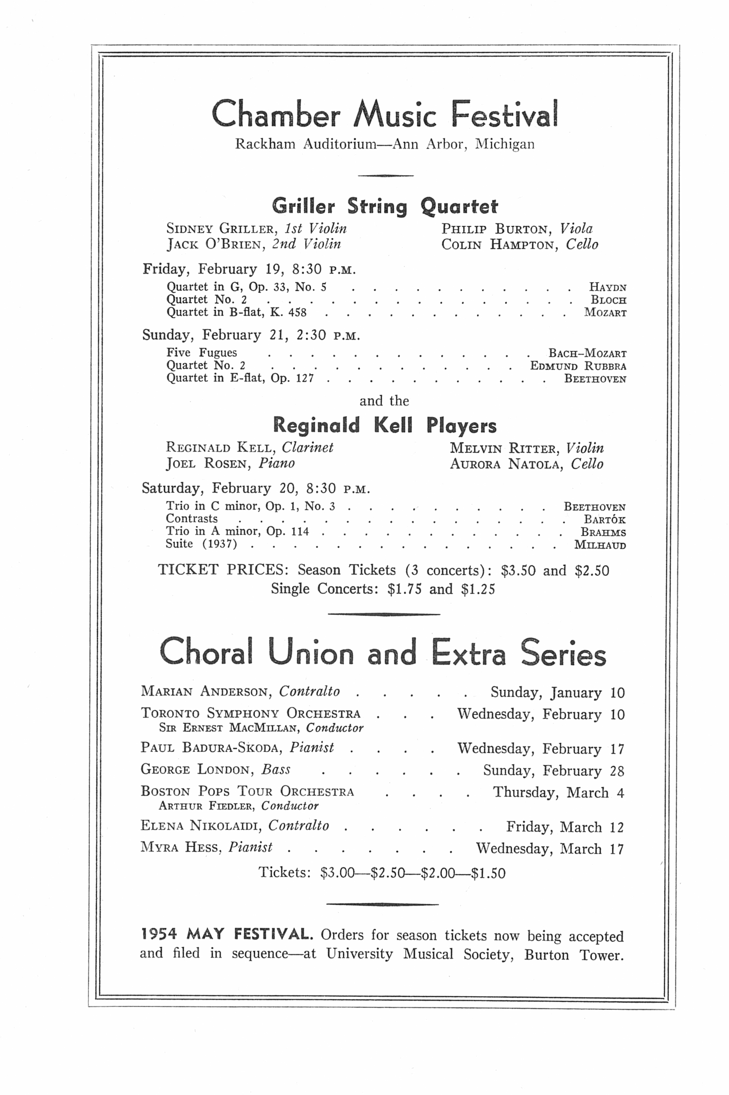 UMS Concert Program, December 13, 1953: Seventy-fifth Annual Choral Union Concert Series -- Chicago Symphony Orchestra image
