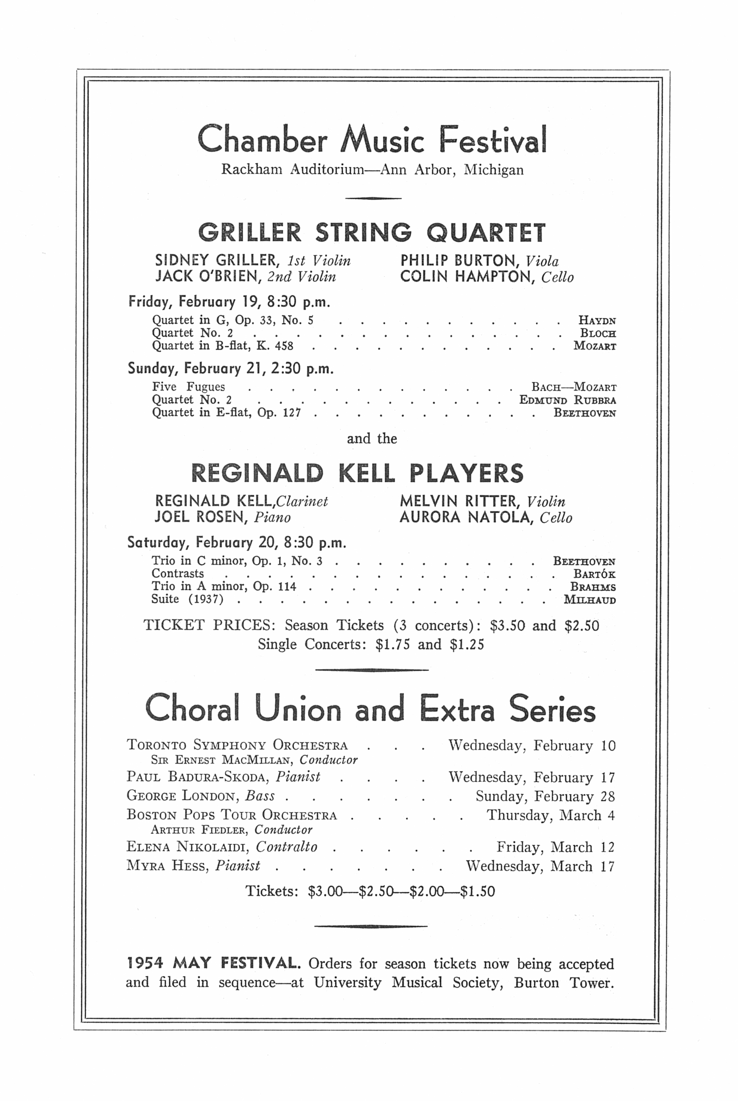 UMS Concert Program, January 10, 1954: Eight Annual Extra Concert Series -- Marian Anderson image