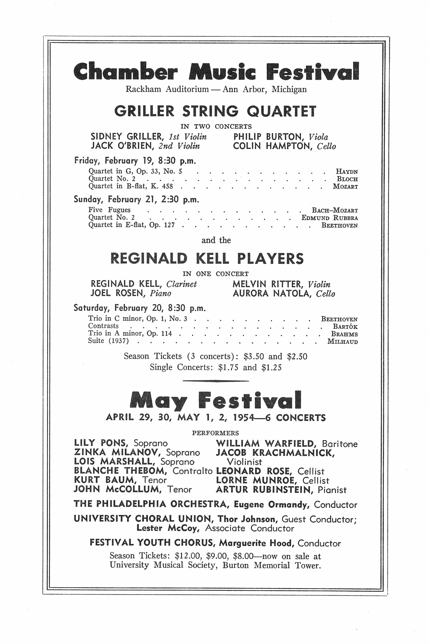 UMS Concert Program, February 10, 1954: Seventy-fifth Annual Choral Union Concert Series -- Toronto Symphony Orchestra image