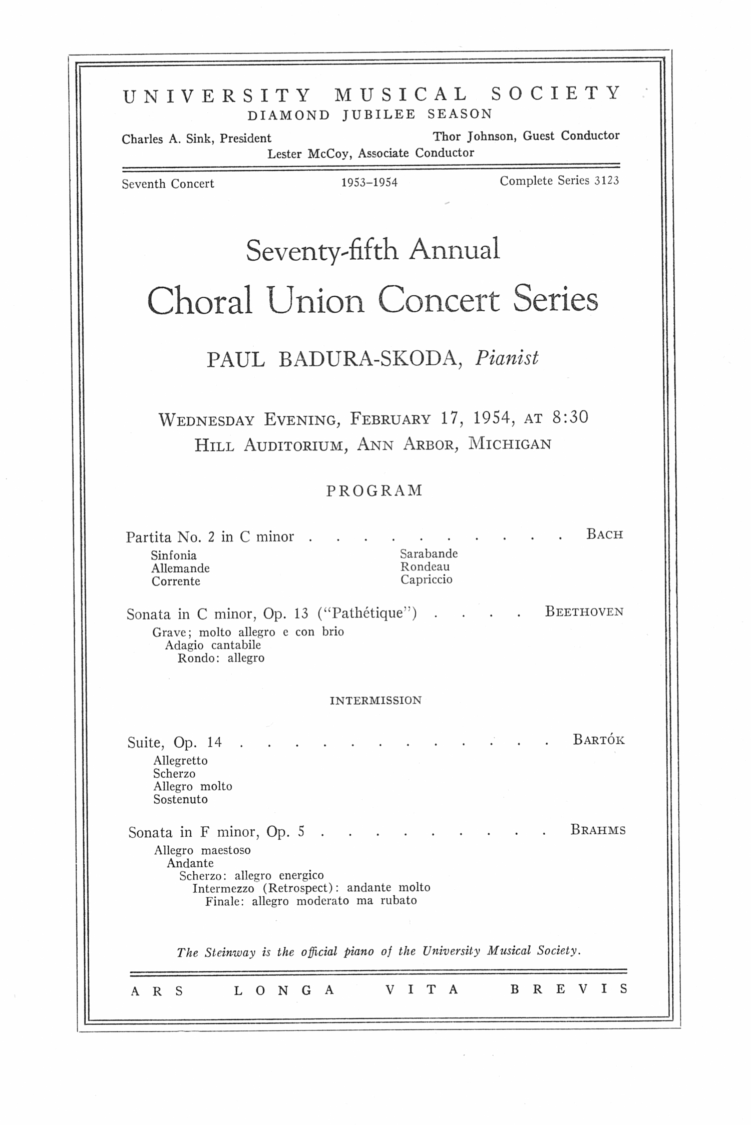 UMS Concert Program, February 17, 1954: Seventy-fifth Annual Choral Union Concert Series -- Paul Baduraskoda image
