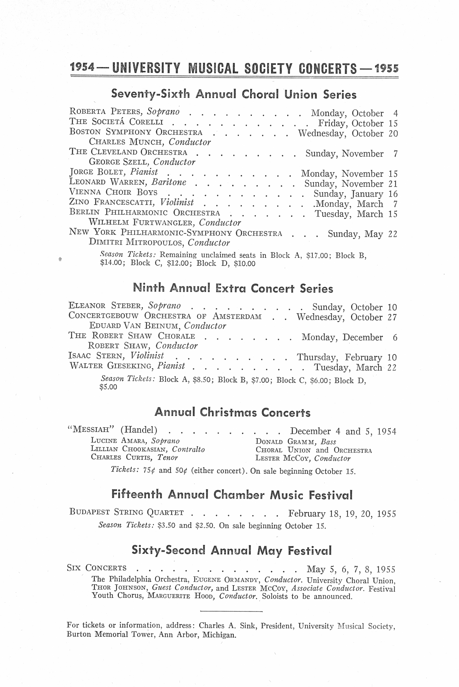 UMS Concert Program, April 30, 1954: Sixty-first Annual May Festival -- The Philadelphia Orchestra image