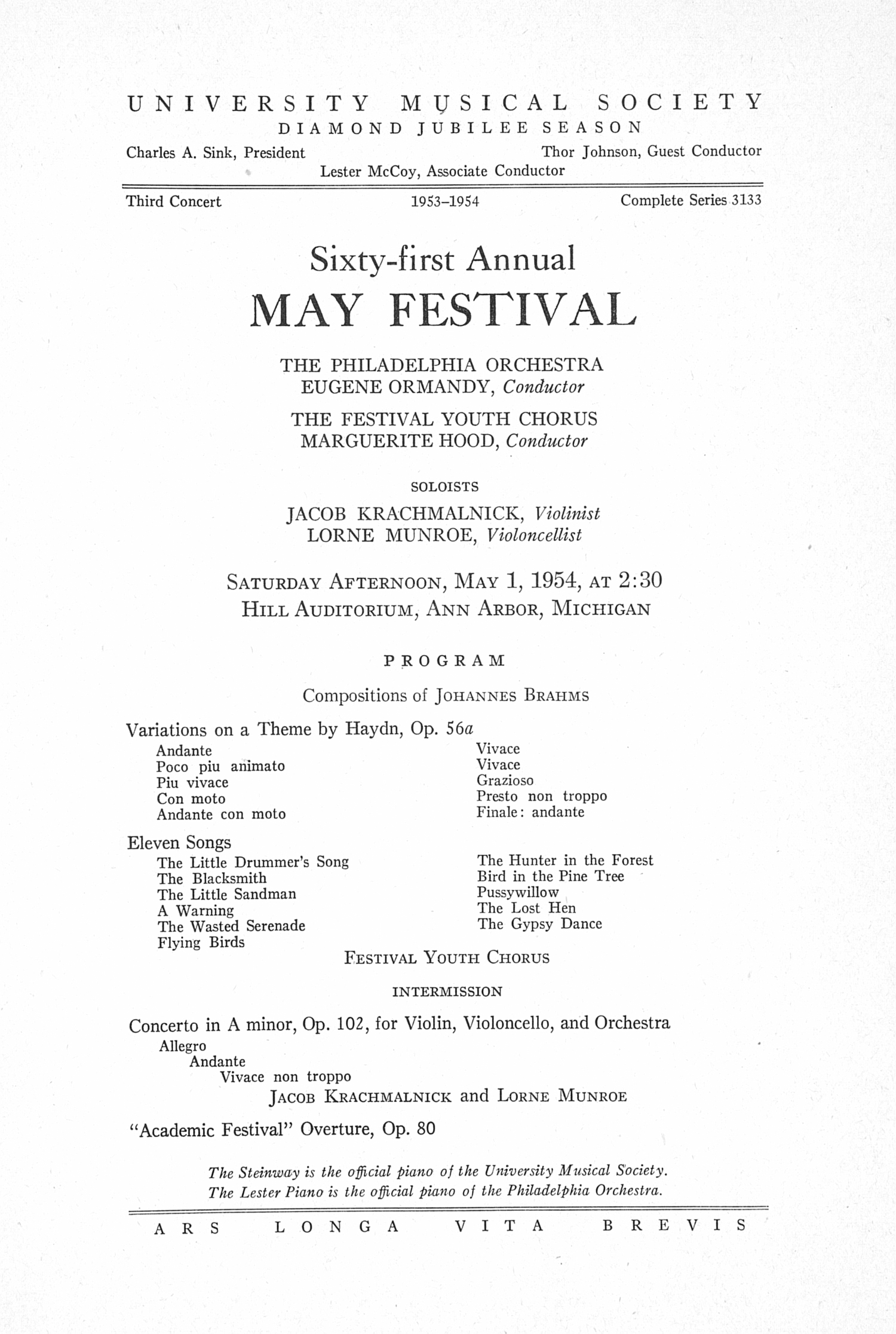 UMS Concert Program, May 1, 1954: Sixty-first Annual May Festival -- The Philadelphia Orchestra image