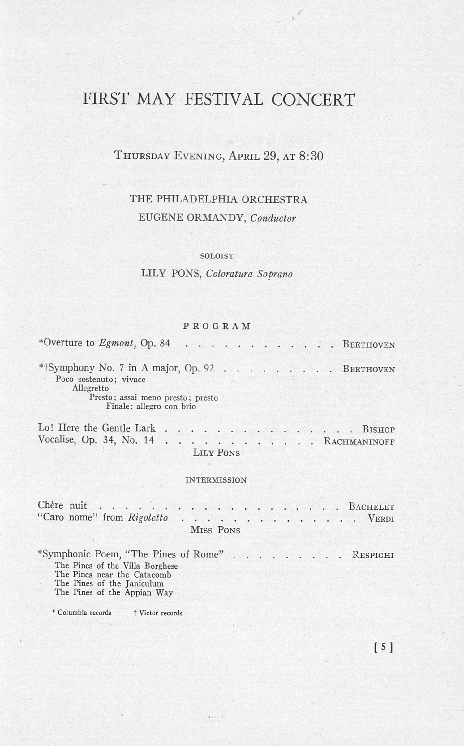 UMS Concert Program, April 29, 30, May 1, 2, 1954: The Sixty-first Annual May Festival -- The Philadelphia Orchestra image