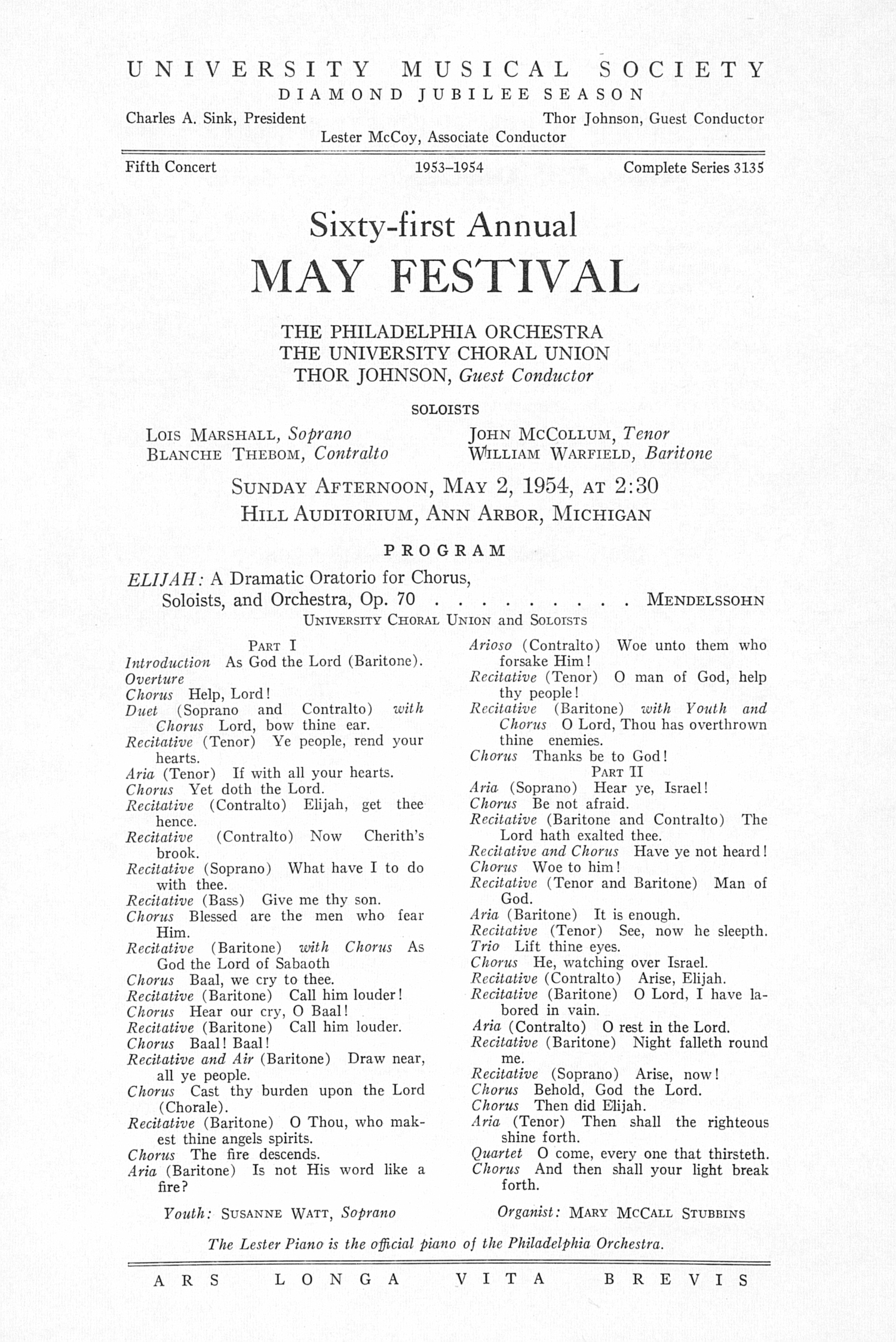 UMS Concert Program, May 2, 1954: Sixty-first Annual May Festival -- The Philadelphia Orchestra image