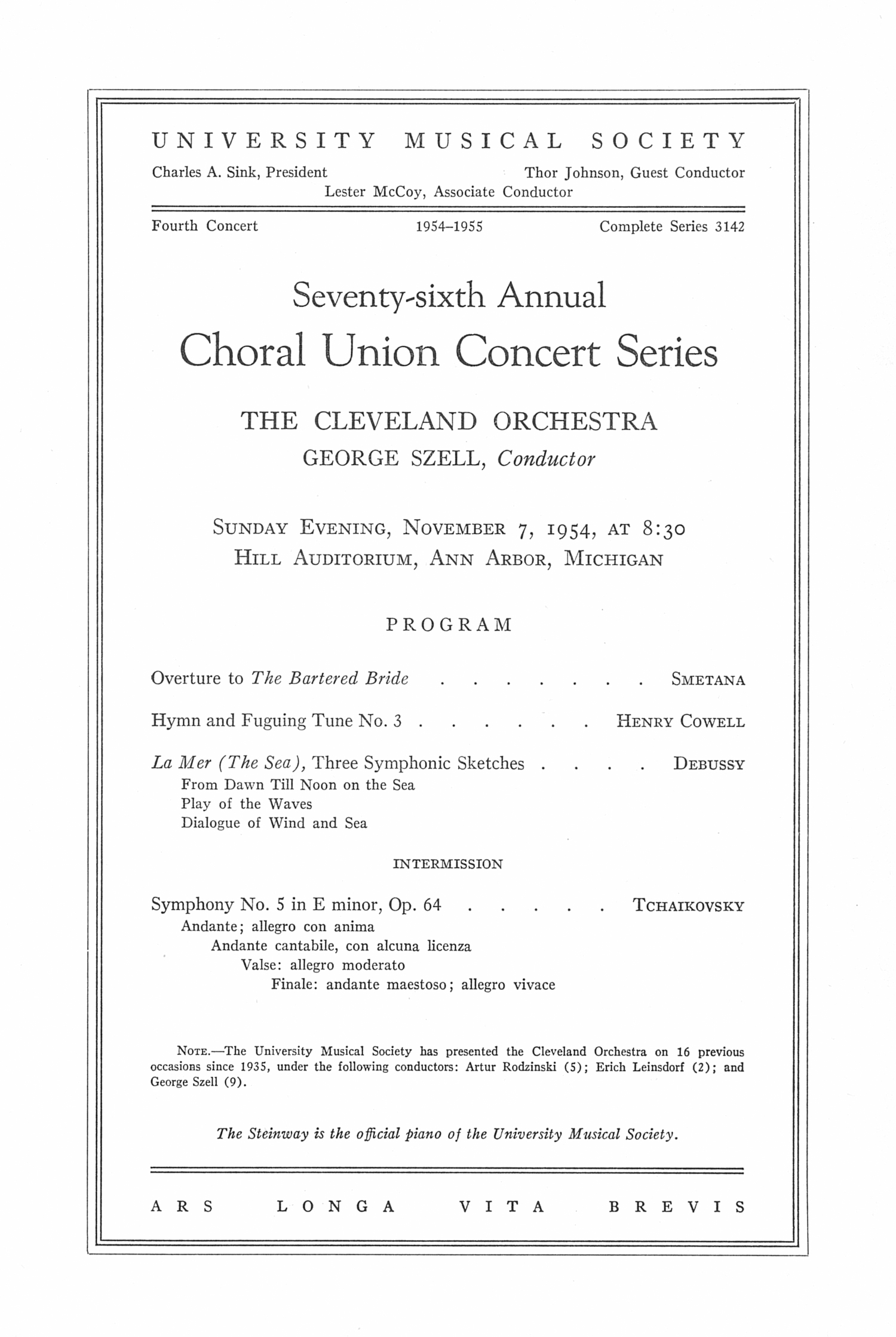 UMS Concert Program, November 7, 1954: Seventy-sixth Annual Choral Union Concert Series -- The Cleveland Orchestra image