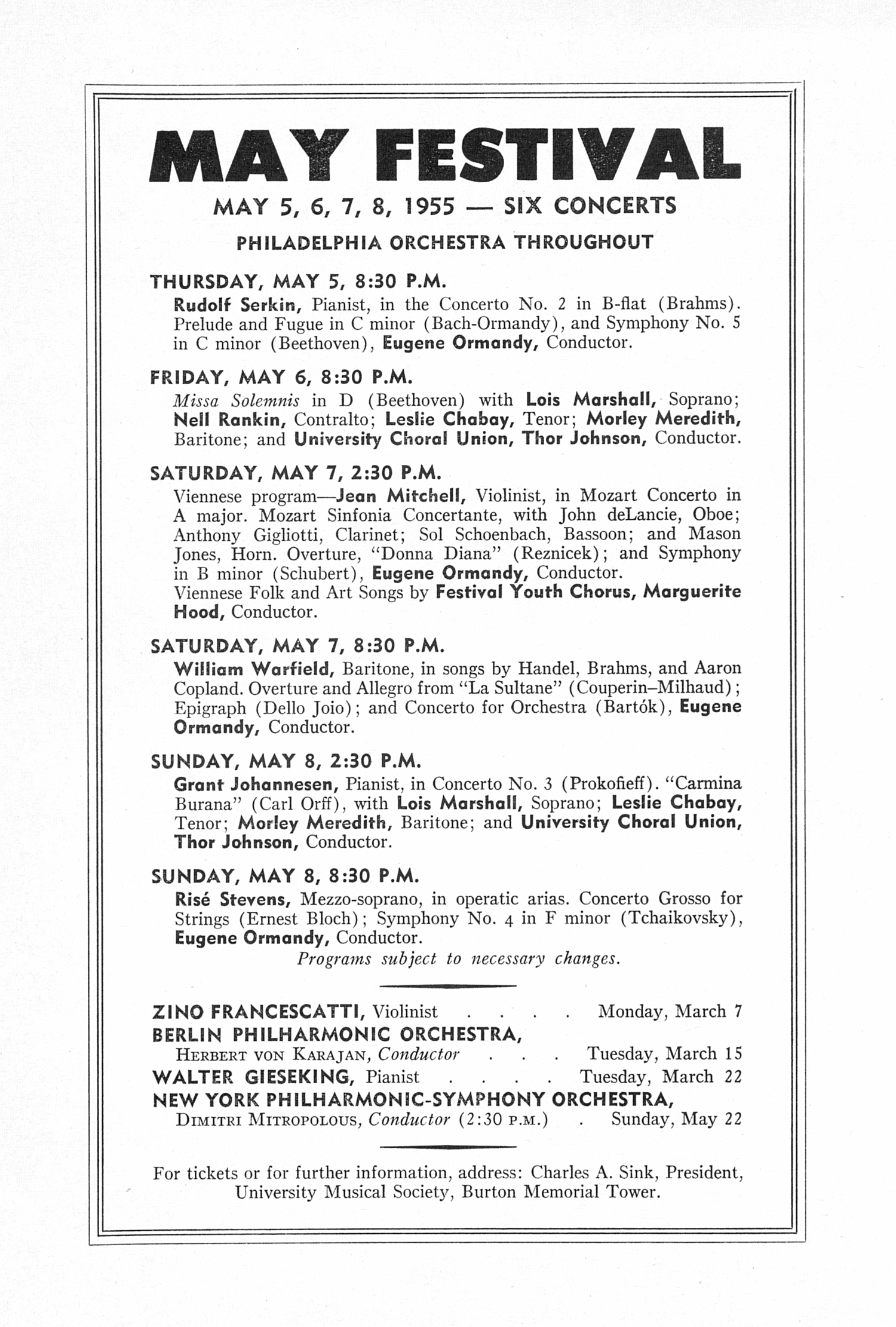 UMS Concert Program, February 18, 1955: Fifteenth Annual Chamber Music Festival -- Budapest String Quartet image