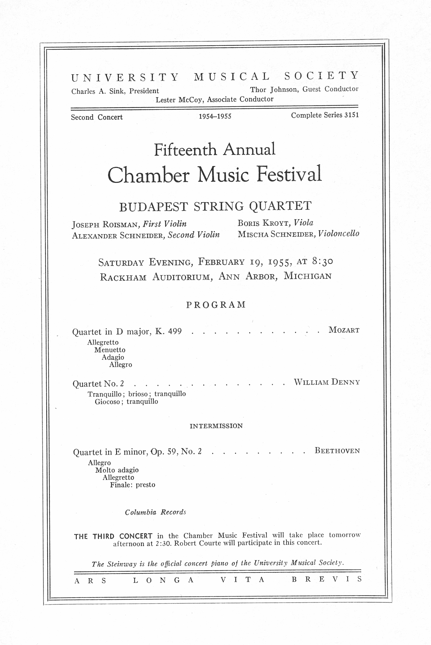 UMS Concert Program, February 19, 1955: Fifteenth Annual Chamber Music Festival -- Budapest String Quartet image
