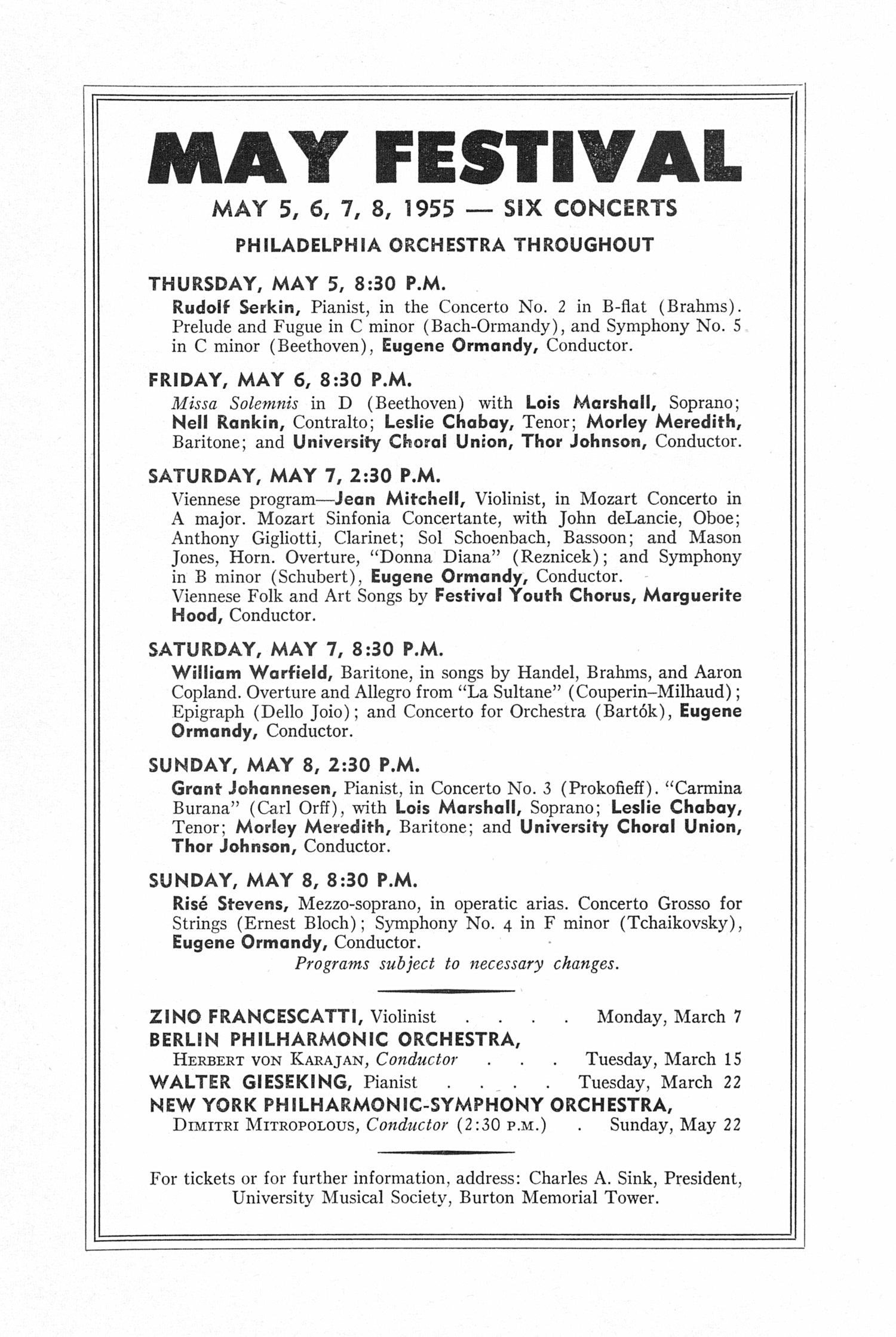 UMS Concert Program, February 20, 1955: Fifteenth Annual Chamber Music Festival -- Budapest String Quartet image