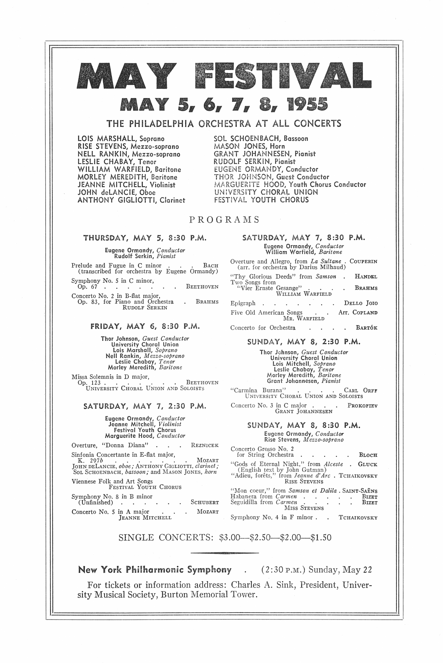 UMS Concert Program, March 22,1955: Ninth Annual Extra Concert Series -- Walter Gieseking image