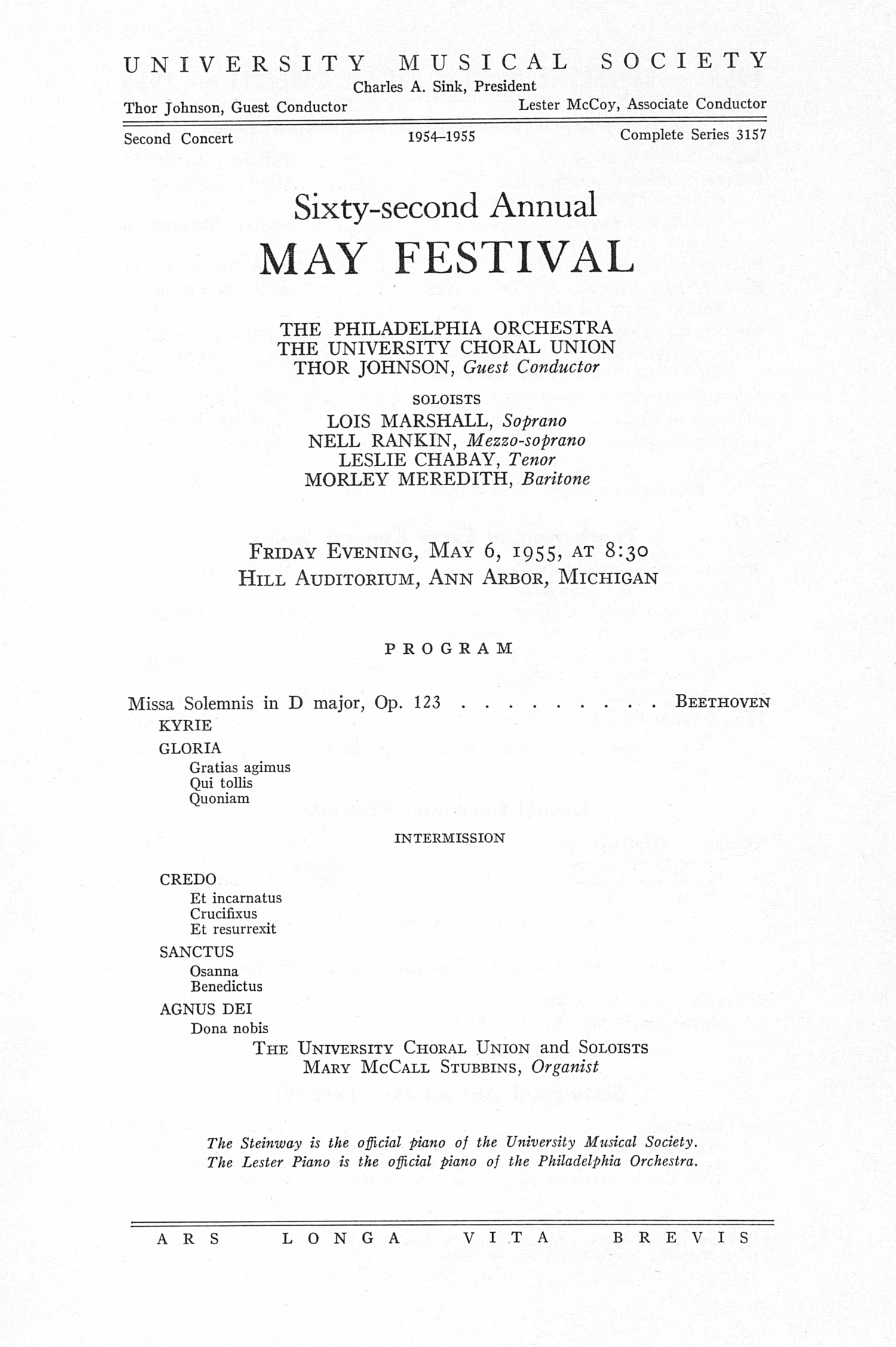 UMS Concert Program, May 6, 1955: Sixty-second Annual May Festival -- The Philadelphia Orchestra image