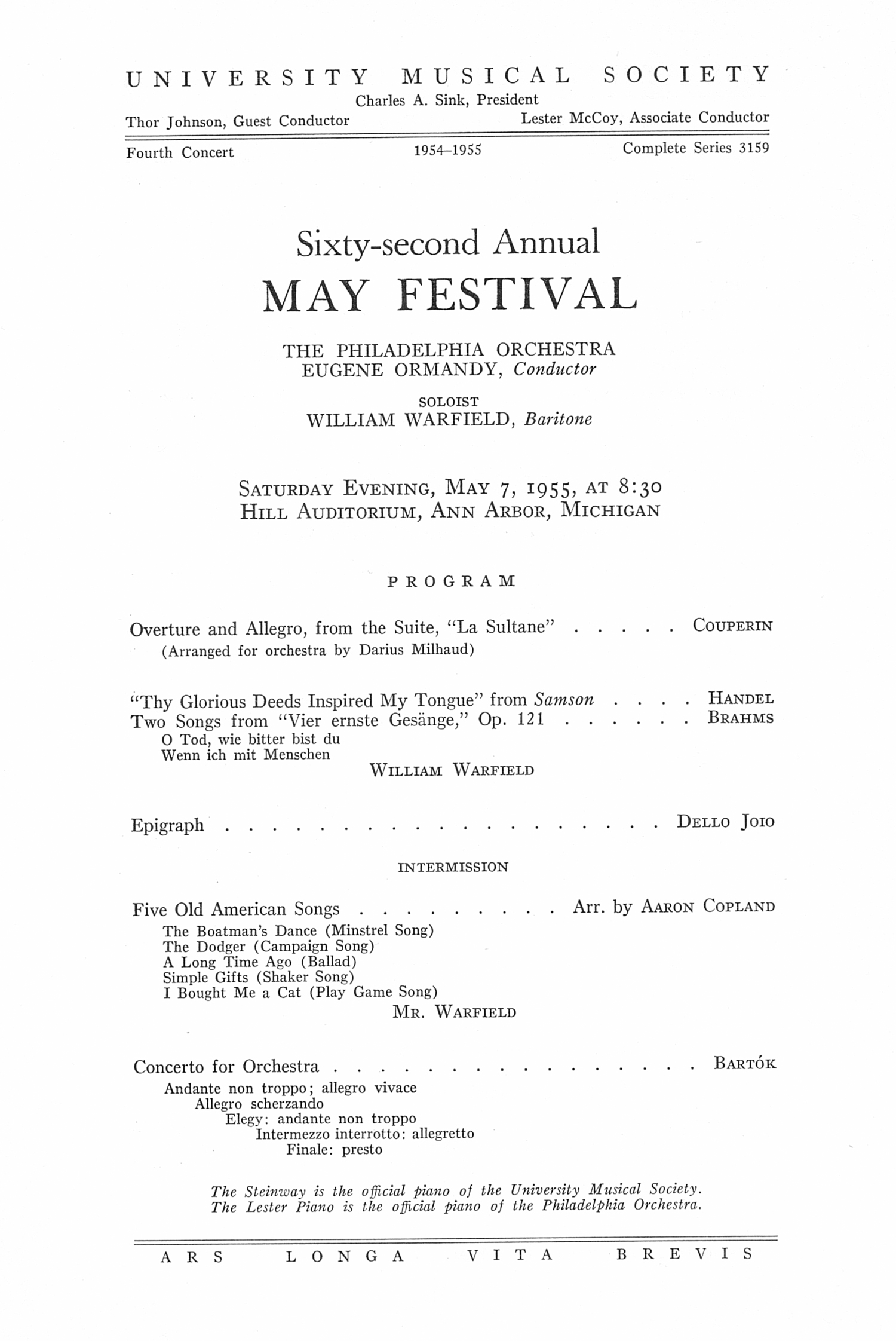 UMS Concert Program, May 7, 1955: Sixty-second Annual May Festival -- The Philadelphia Orchestra image