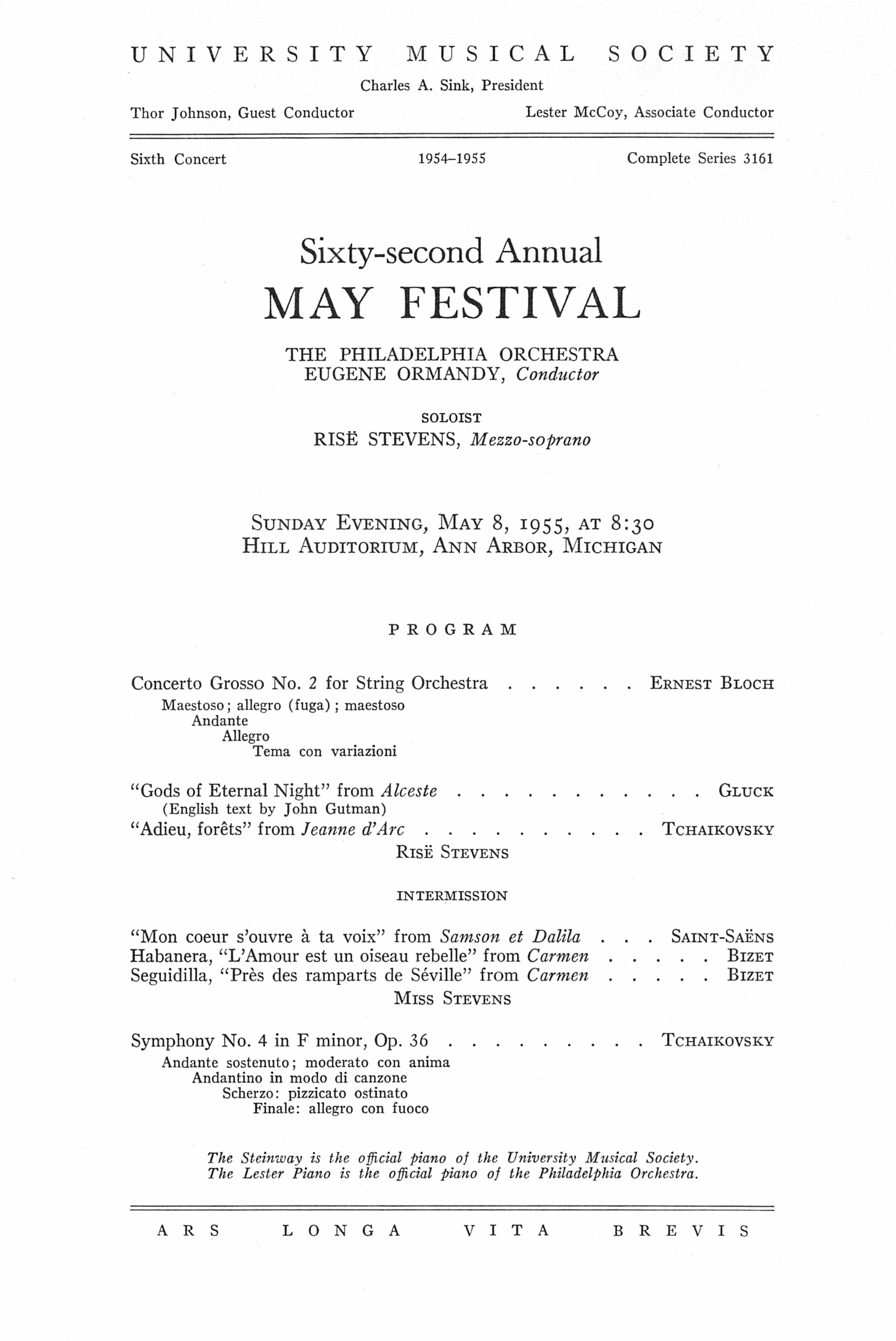 UMS Concert Program, May 8, 1955: Sixty-second Annual May Festival -- The Philadelphia Orchestra image