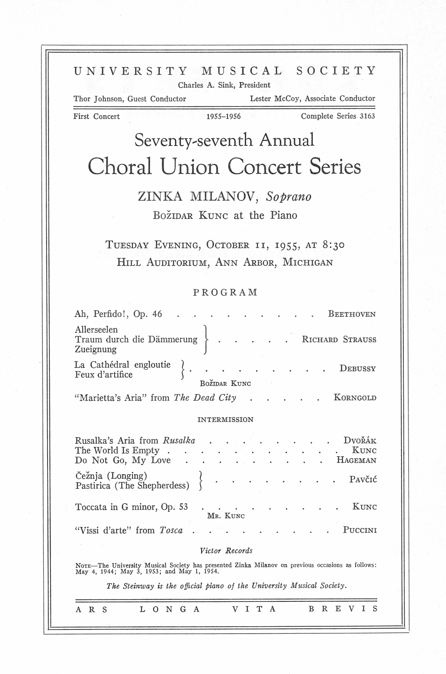 UMS Concert Program, October 11, 1955: Seventy-seventh Annual Choral Union Concert Series -- Zinka Milanov image