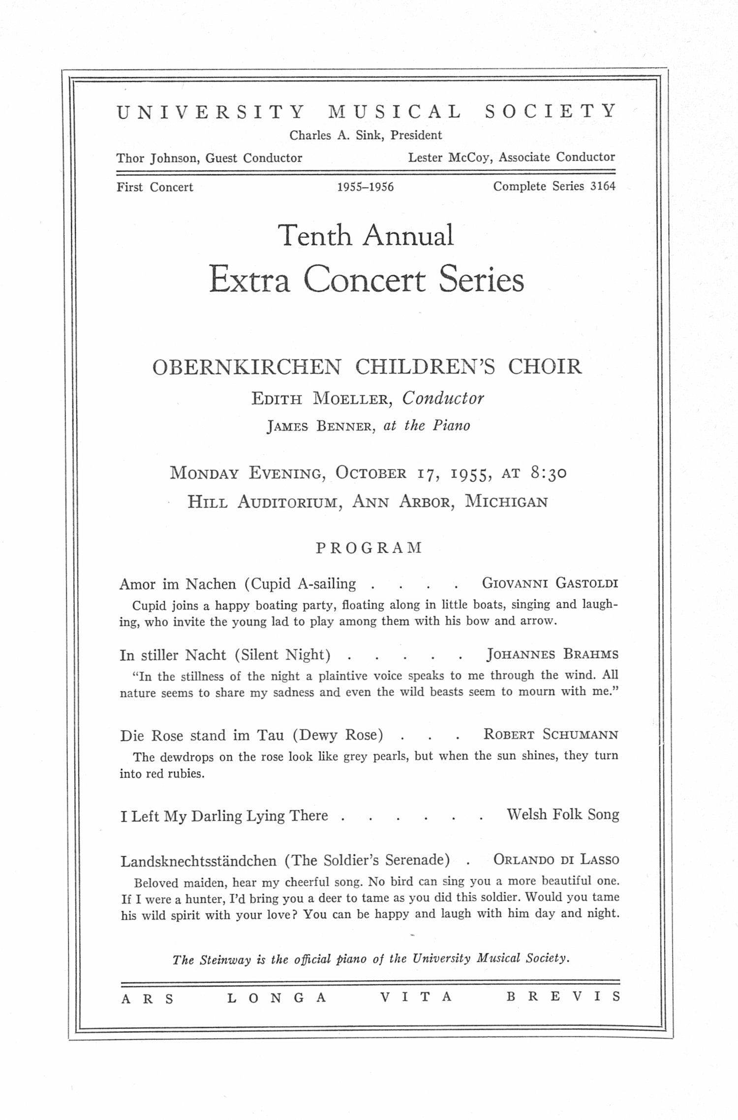 UMS Concert Program, October 17, 1955: Tenth Annual Extra Concert Series -- Edith Moeller image