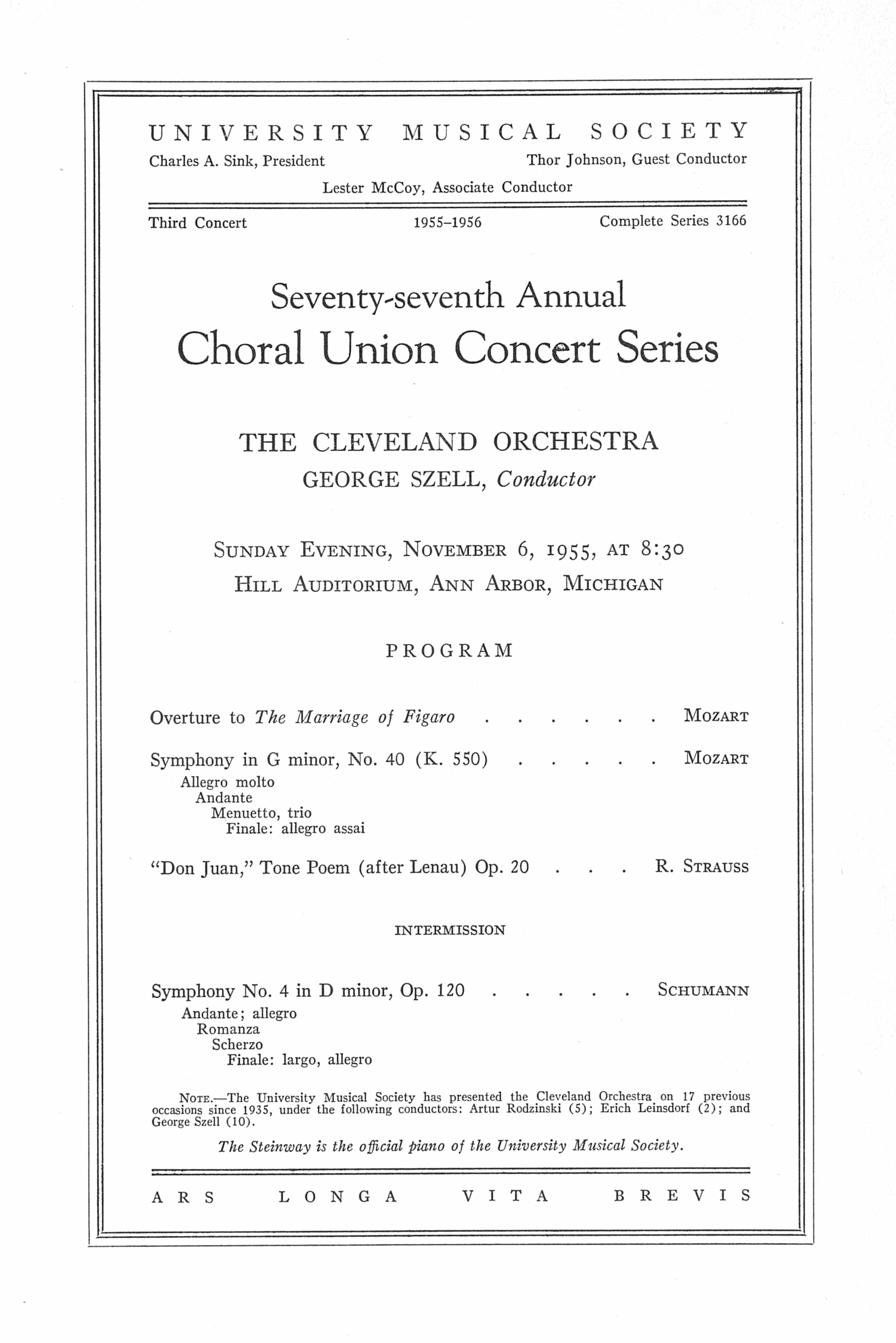 UMS Concert Program, November 6, 1955: Seventy-seventh Annual Choral Union Concert Series -- The Cleveland Orchestra image