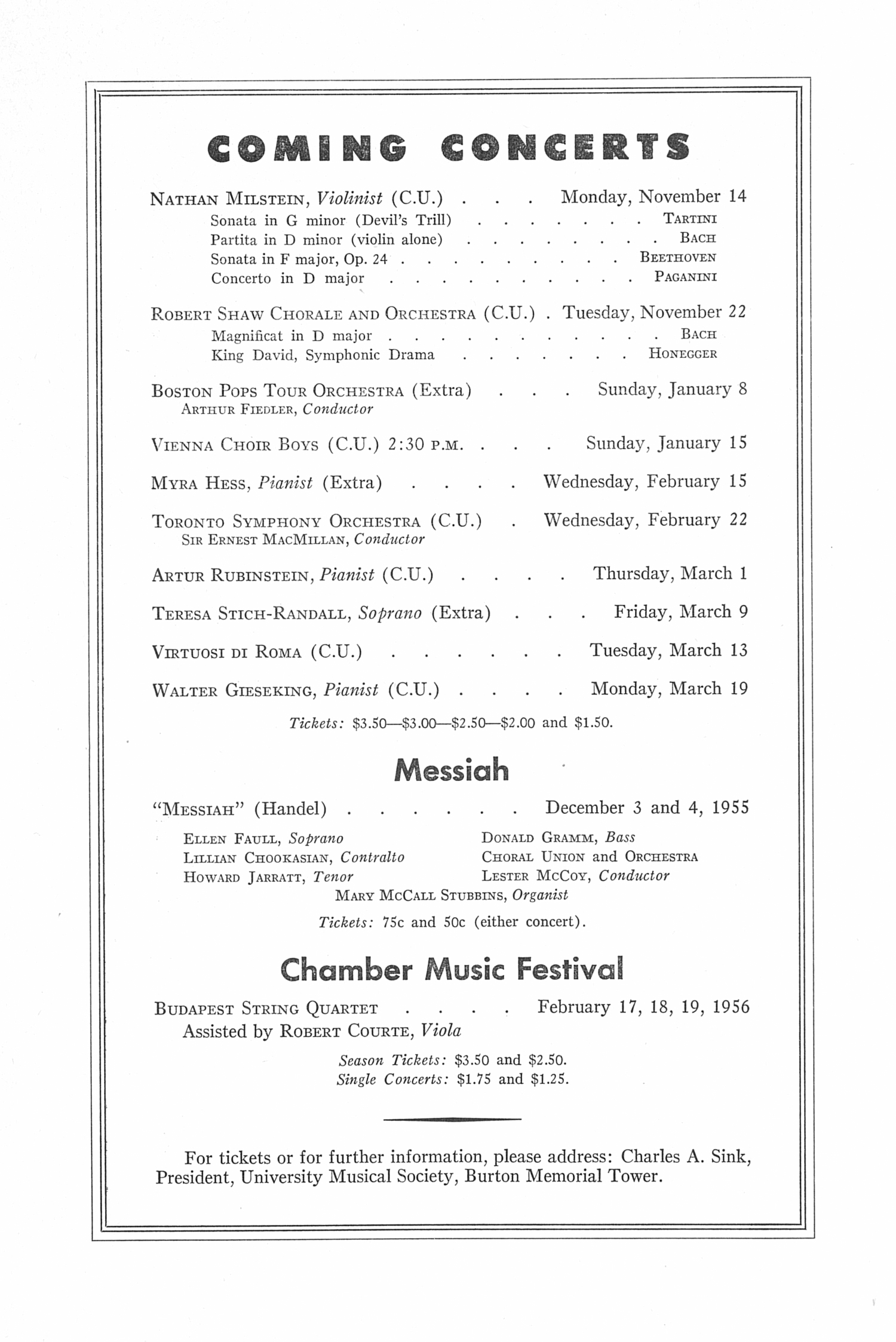 UMS Concert Program, November 9, 1955: Tenth Annual Extra Concert Series -- Herbert Von Karajan And The The Philadelphia Orchestraof London image