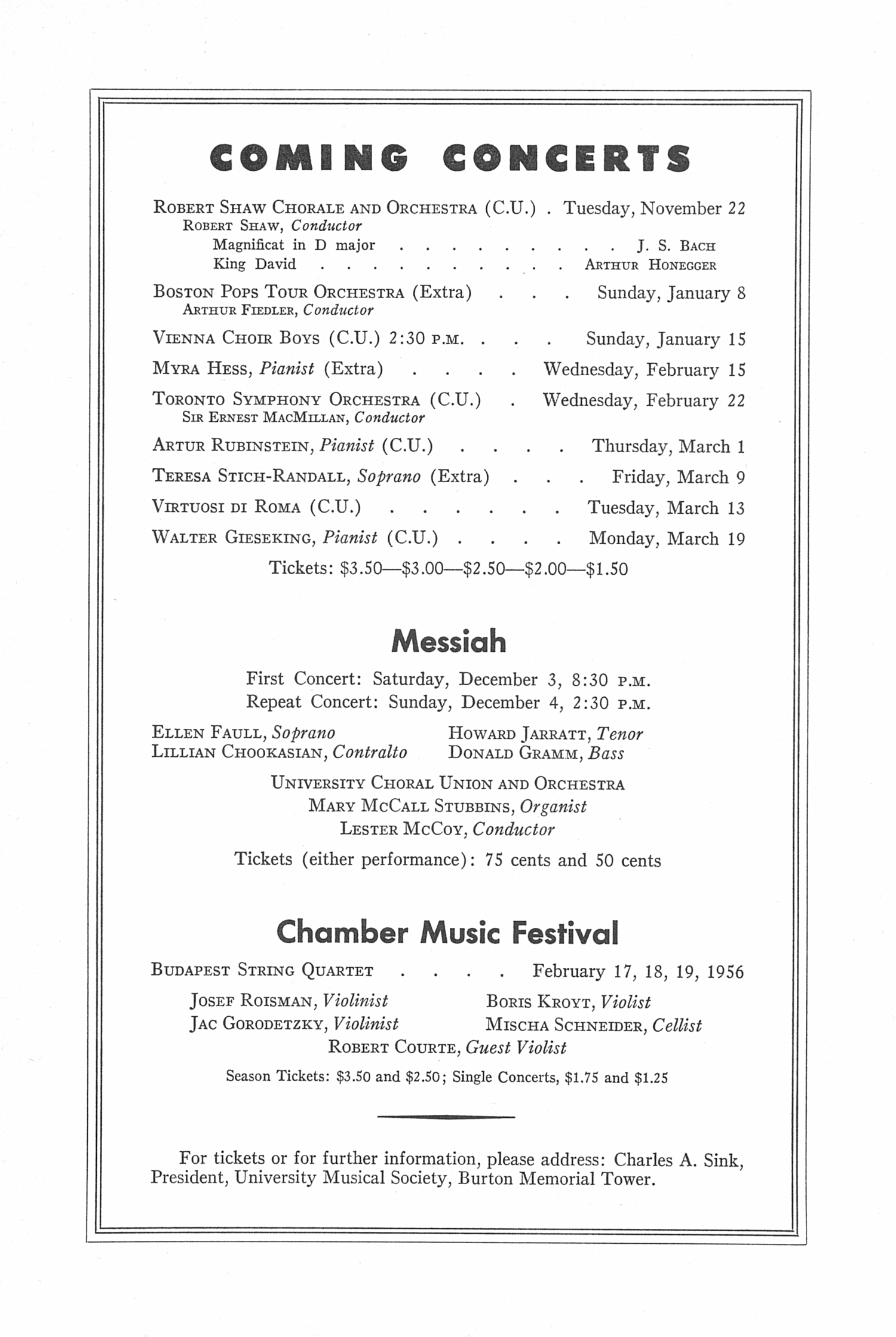 UMS Concert Program, November 14, 1955: Seventy-seventh Annual Choral Union Concert Series -- Nathan Milstein image