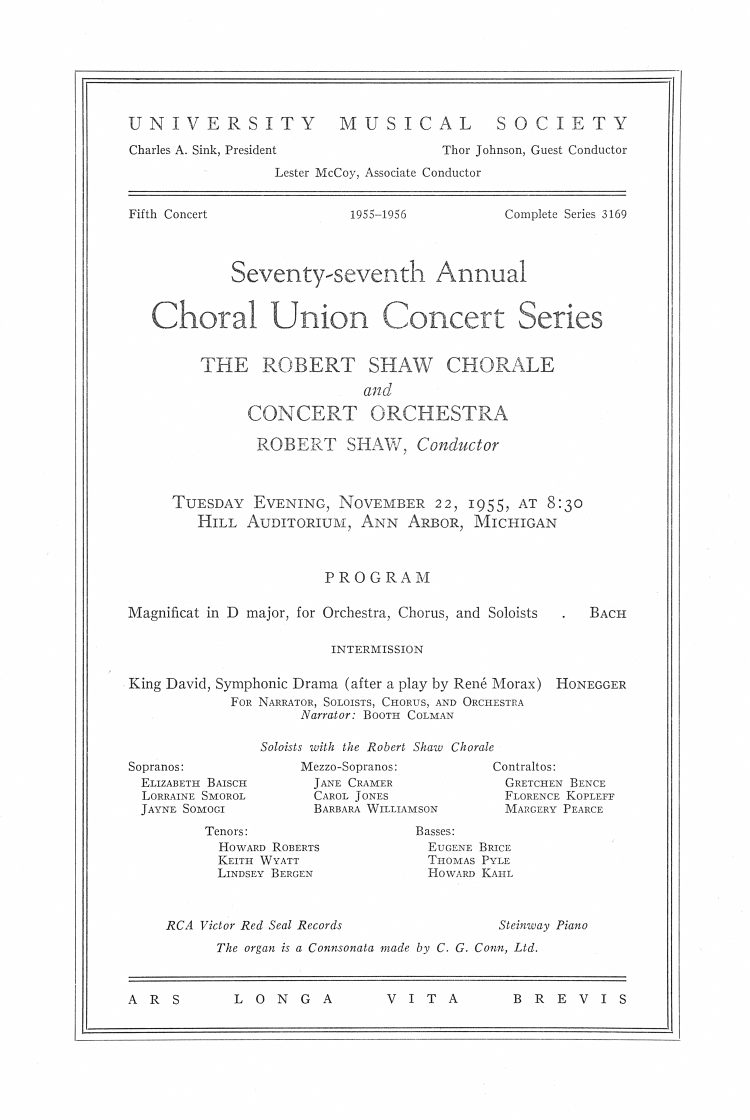 UMS Concert Program, November 22, 1955: Seventy-seventh Annual Choral Union Concert Series -- The Robert Shaw Chorale And Concert Orchestra image