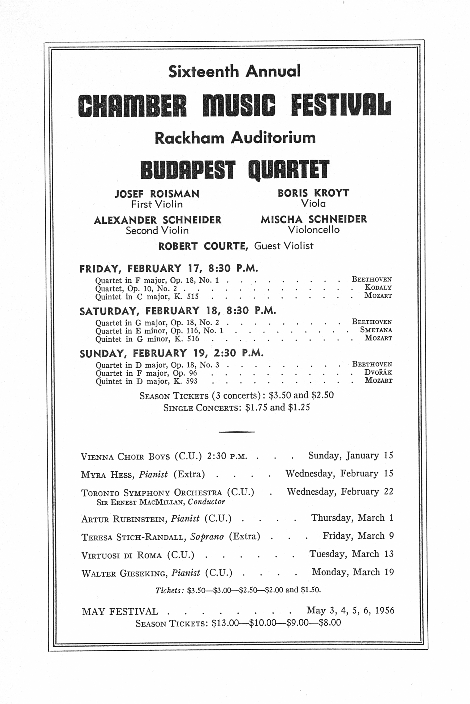 UMS Concert Program, January 8, 1956: Tenth Annual Extra Concert Series -- Arthur Fiedler And The Boston Pops Tour Orchestra image