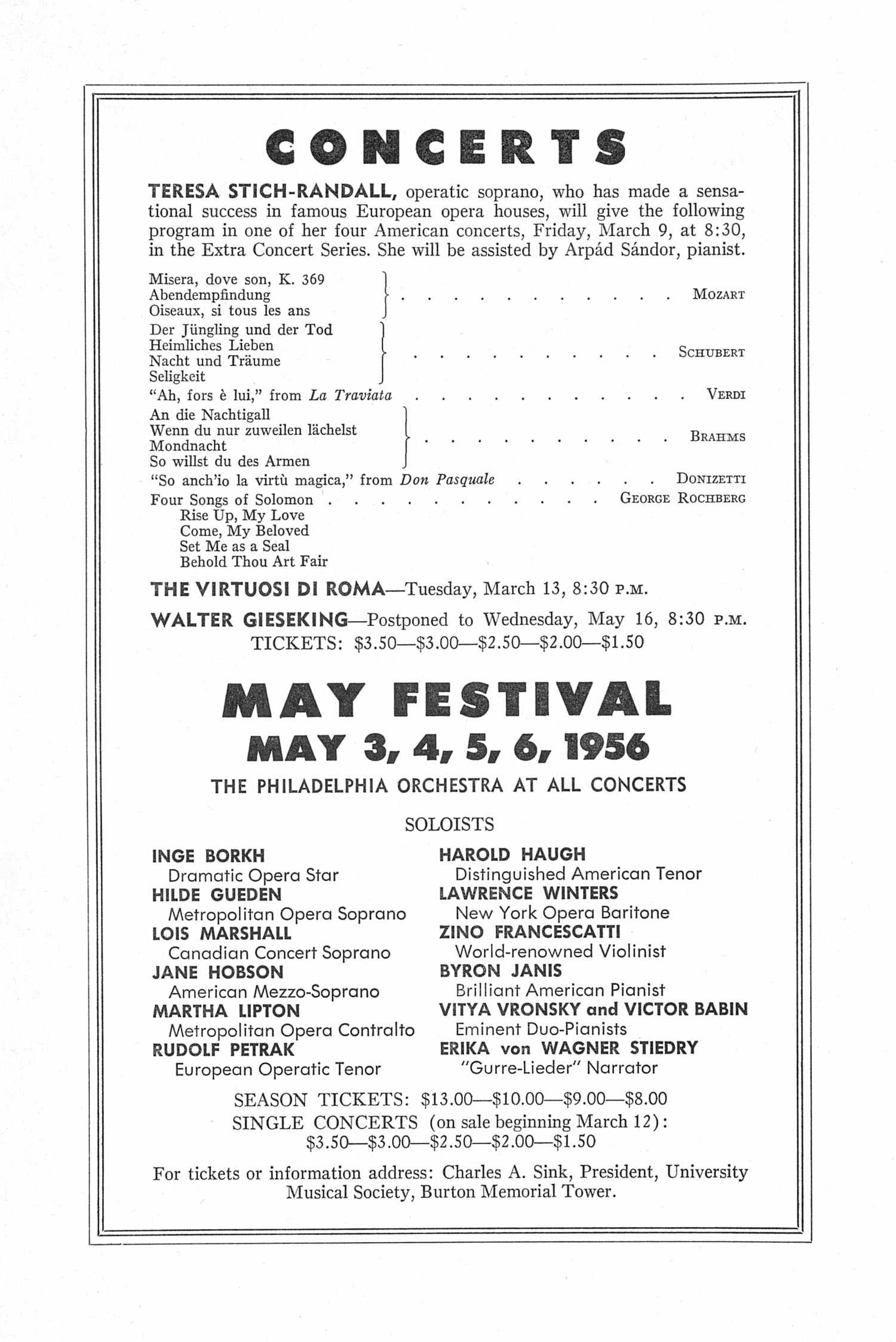 UMS Concert Program, March I, 1956: Seventy-seventh Annual Choral Union Concert Series -- Artur Rubinstein image