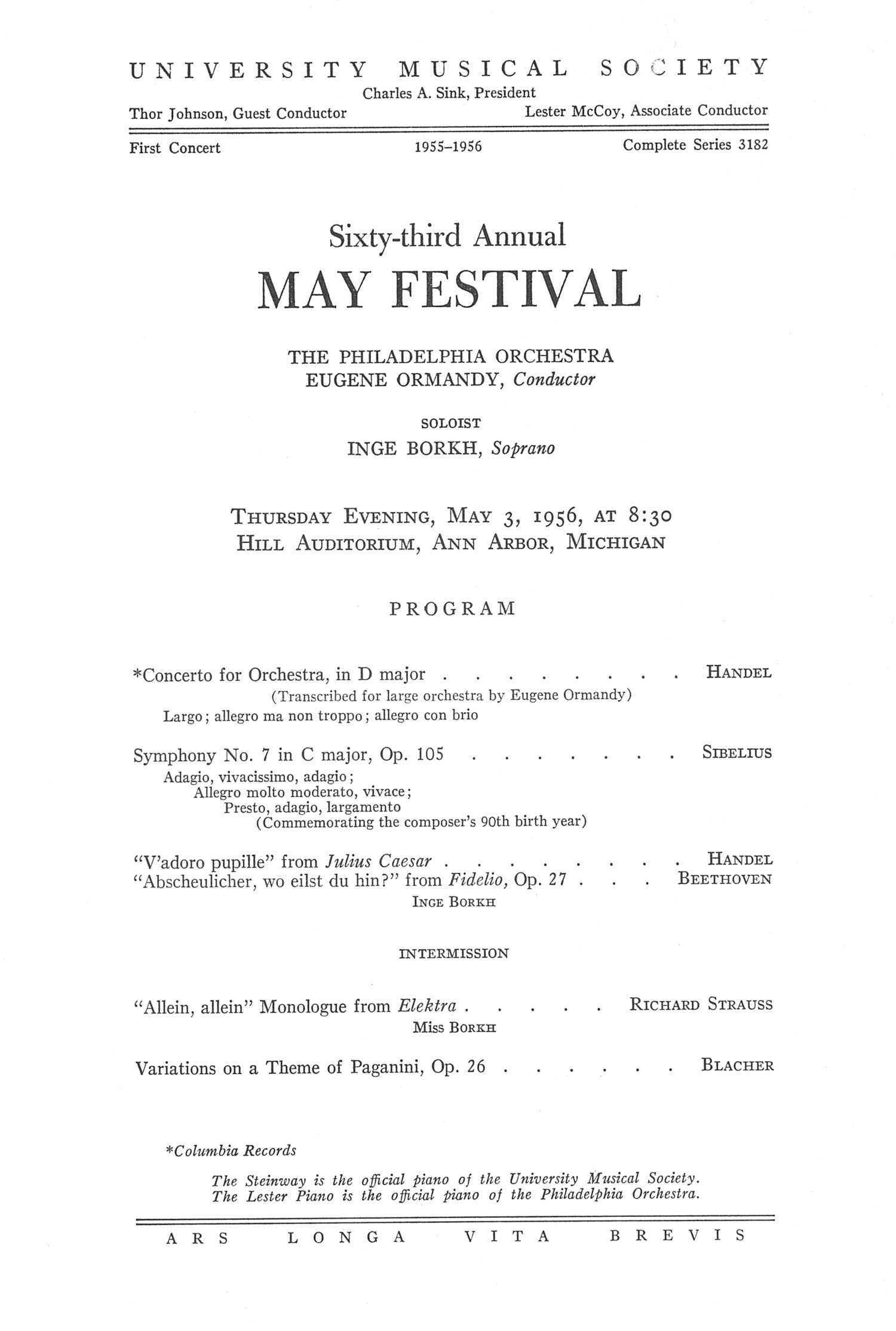 UMS Concert Program, May 3, 1956: Sixty-third Annual May Festival -- The Philadelphia Orchestra image
