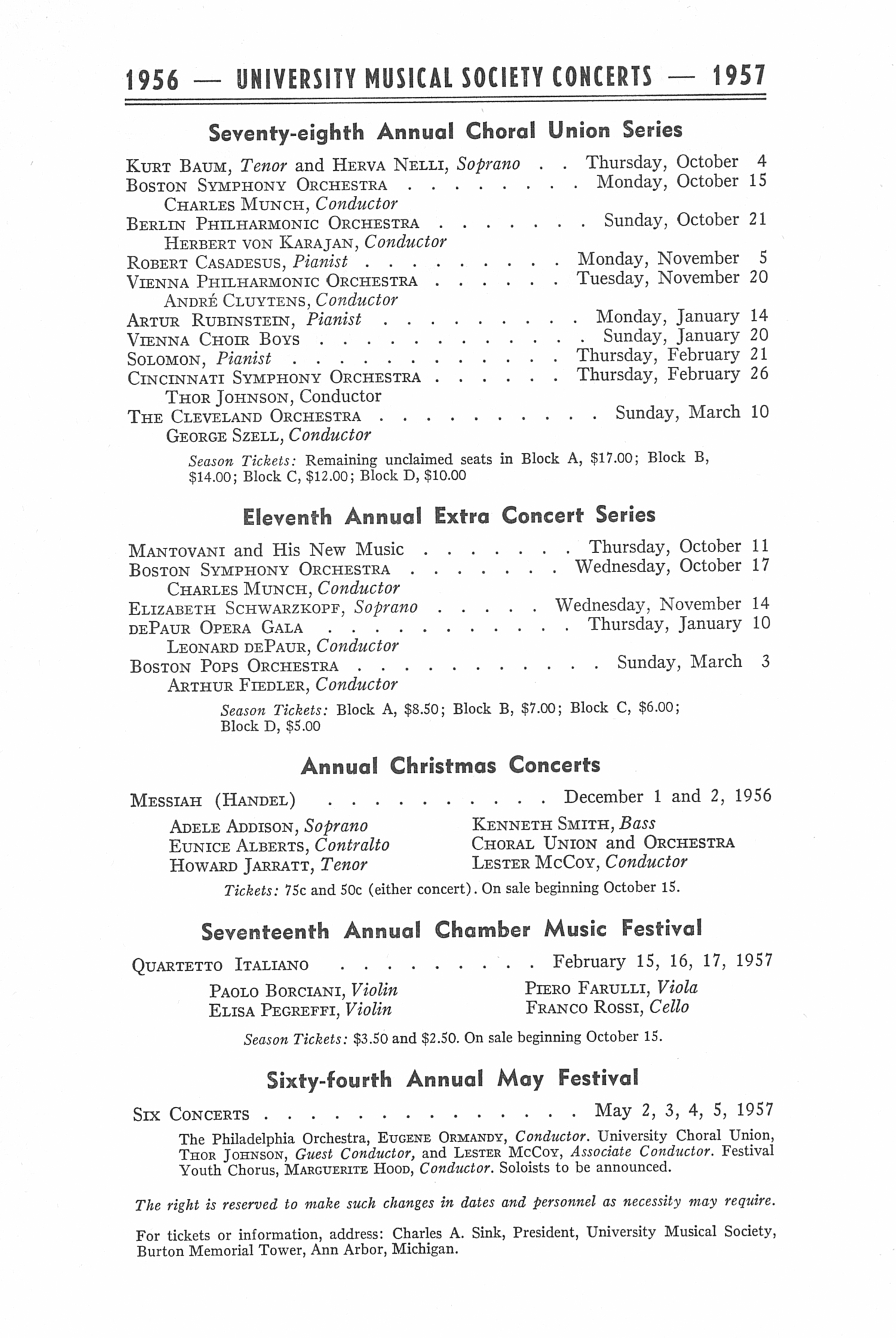 UMS Concert Program, May 4, 1956: Sixty-third Annual May Festival -- The Philadelphia Orchestra image