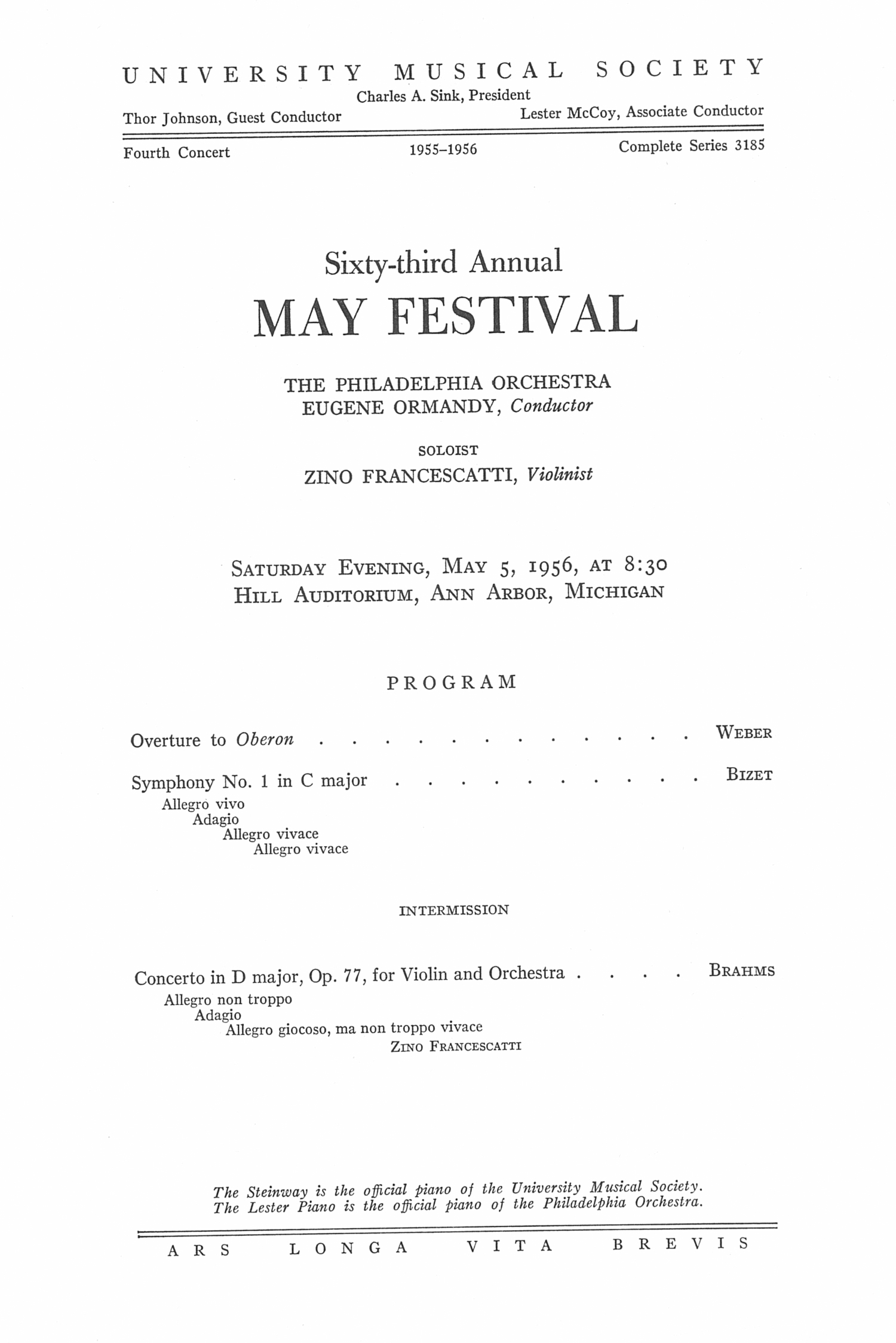 UMS Concert Program, May 5, 1956: Sixty-third Annual May Festival -- The Philadelphia Orchestra image