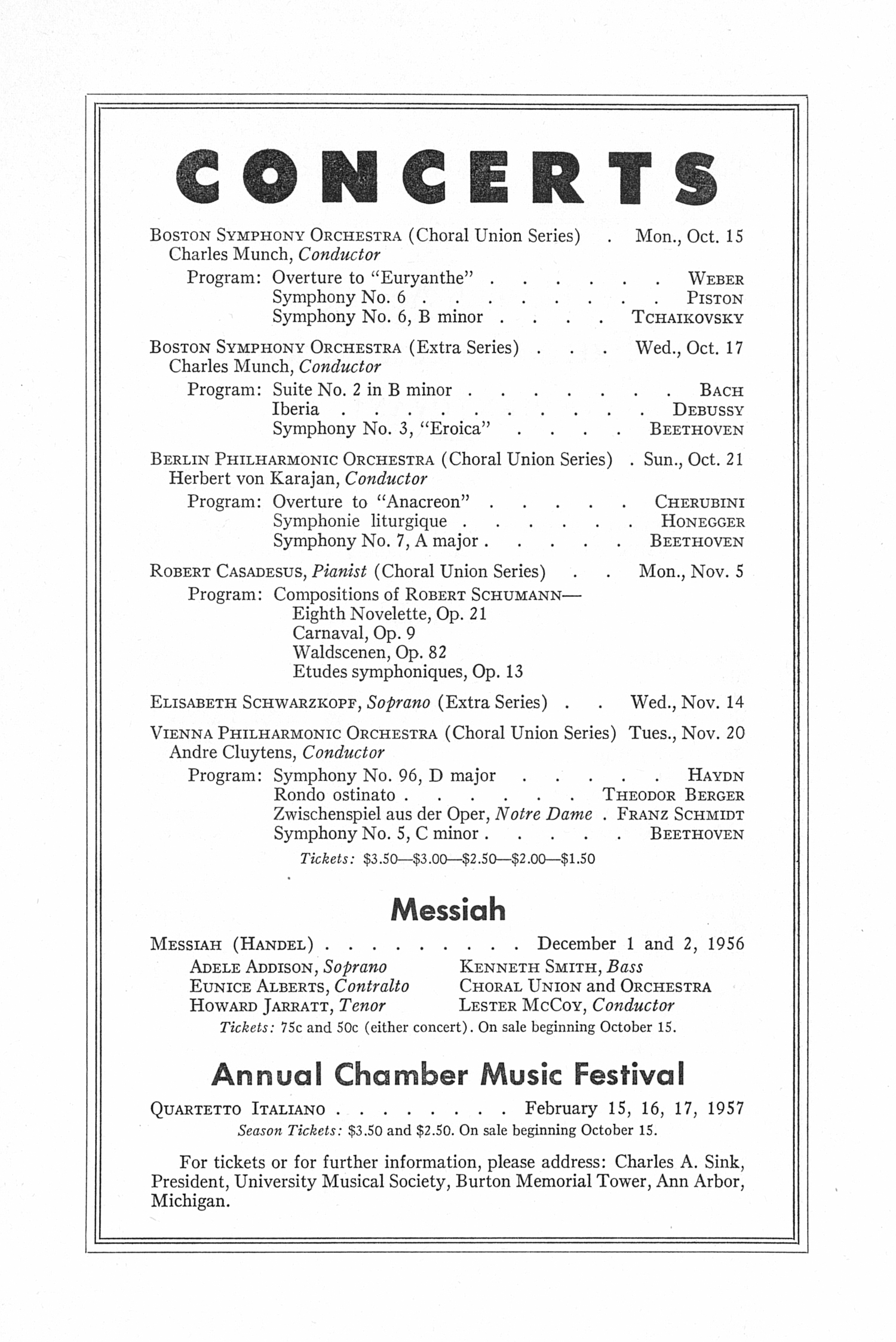 UMS Concert Program, October 11, 1956: Eleventh Annual Extra Concert Series --  image