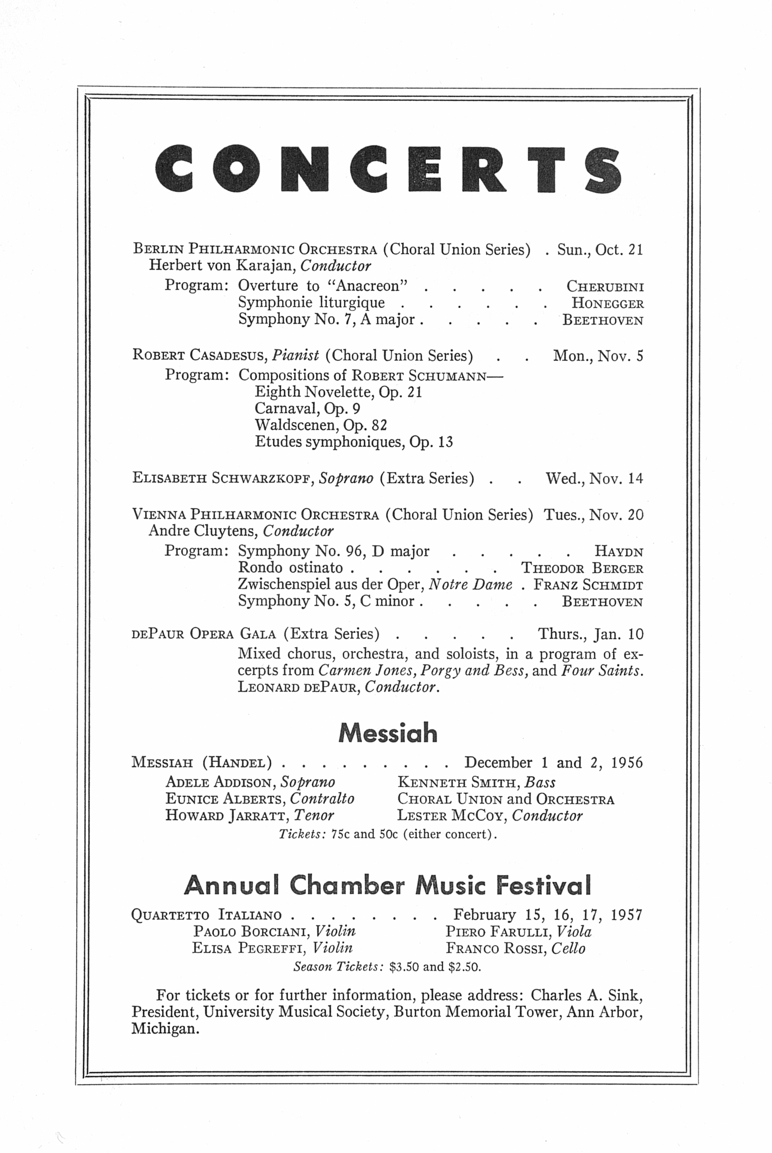 UMS Concert Program, October 17, 1956: Eleventh Annual Extra Concert Series -- Boston Symphony Orchestra image