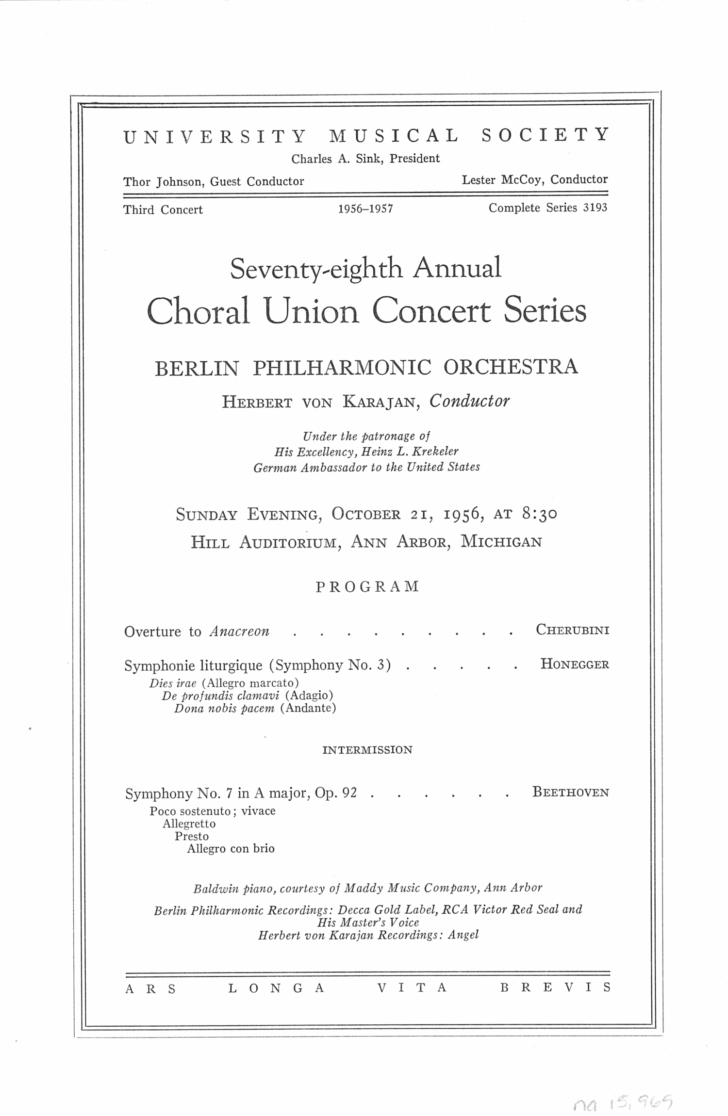 UMS Concert Program, October 21, 1956: Seventy-eighth Annual Choral Union Concert Series -- Berlin Philharmonic Orchestra image