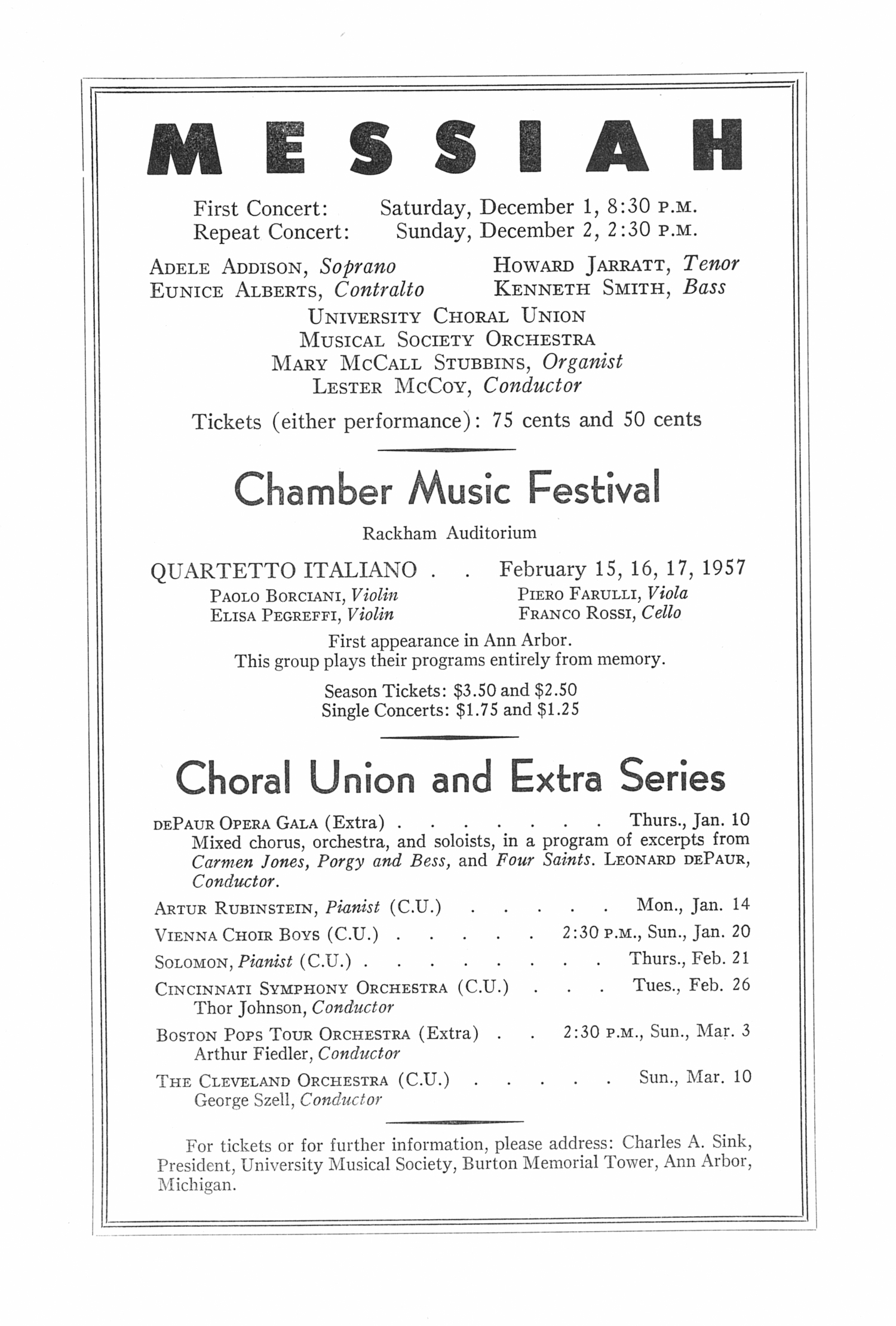 UMS Concert Program, November 20, 1956: Seventy-seventh Annual Choral Union Concert Series -- Vienna Phillharmonic Orchestra image