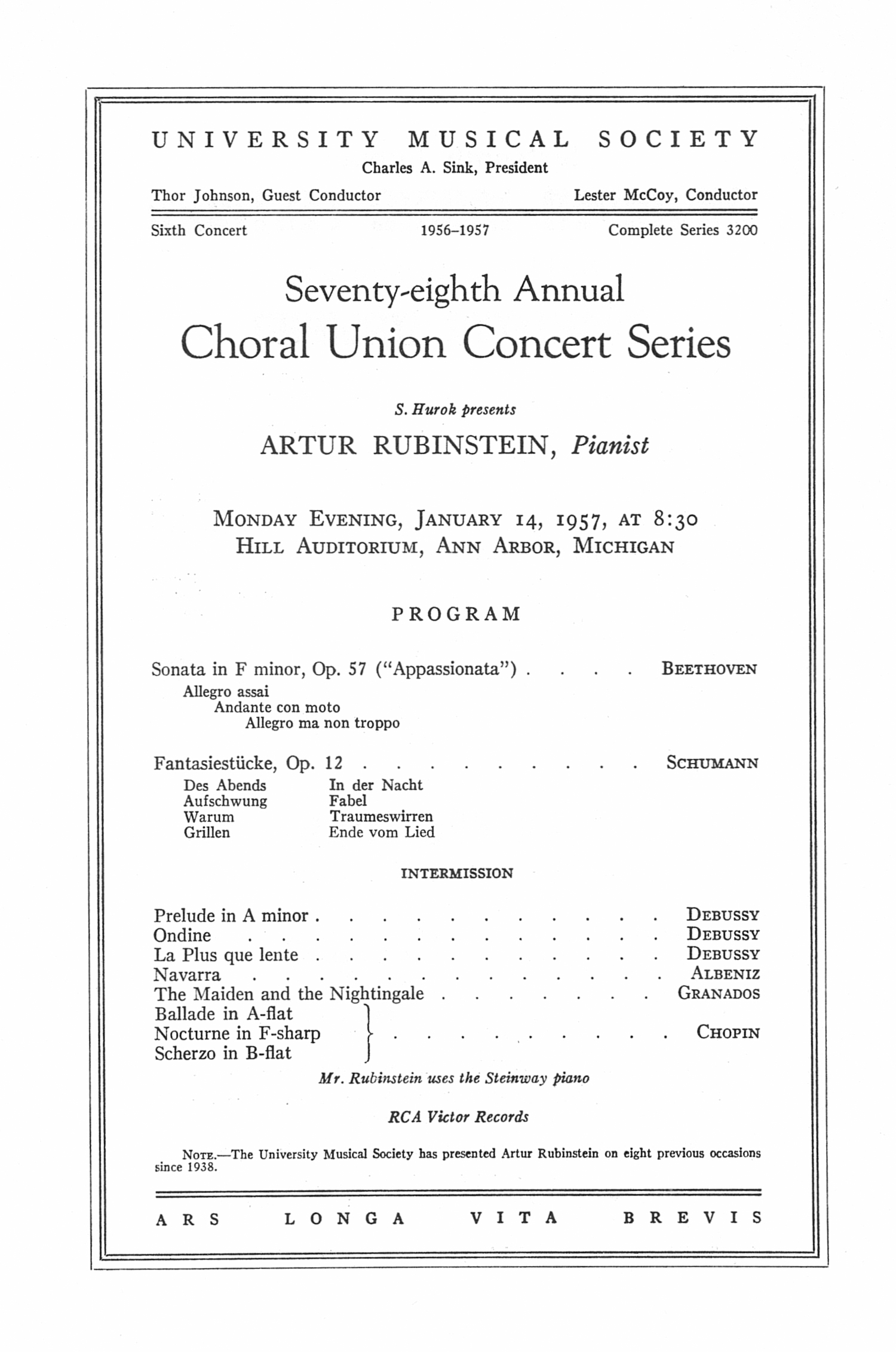 UMS Concert Program, January 14, 1957: Seventy-eighth Annual Choral Union Concert Series -- Artur Rubinstein image