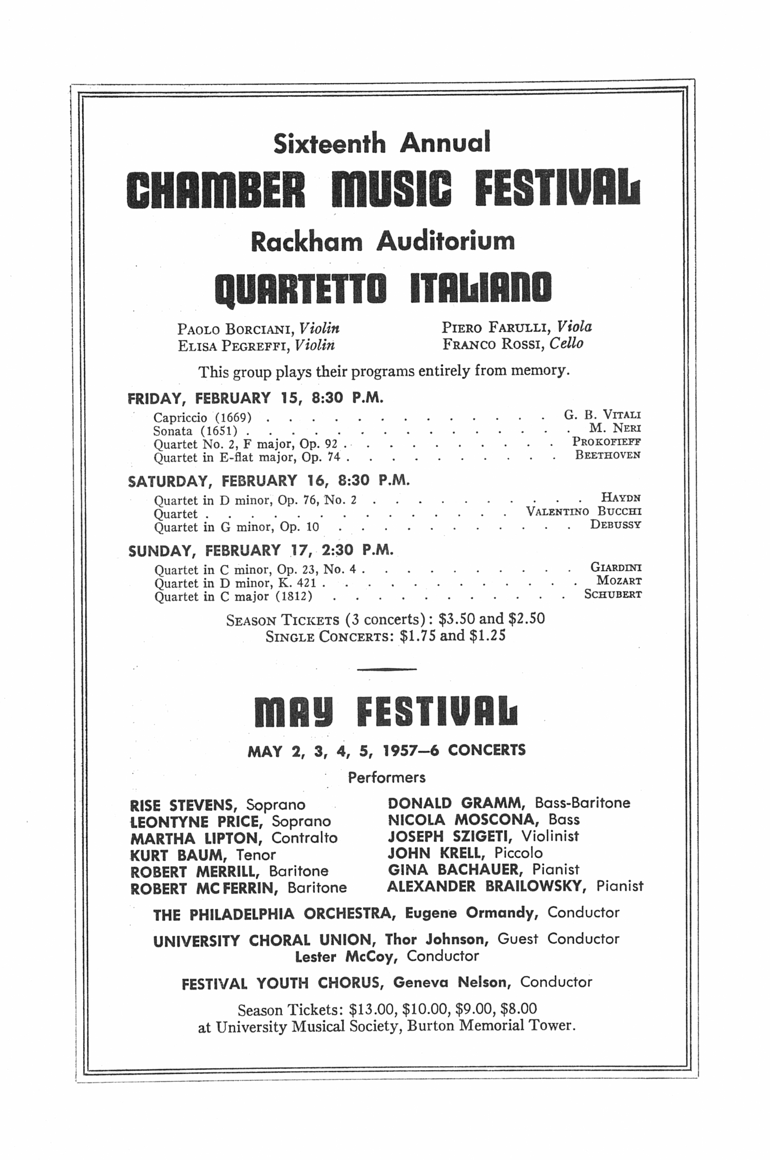 UMS Concert Program, January 20, 1957: Seventy-eighth Annual Choral Union Concert Series -- Xaver Meyer image
