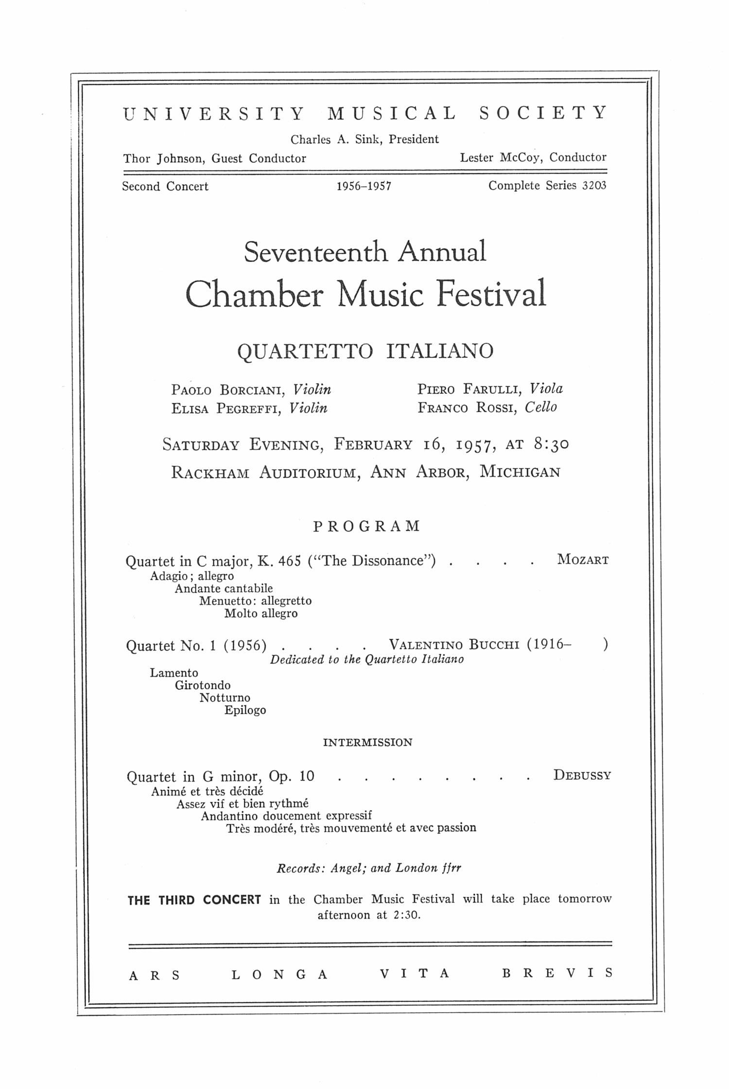 UMS Concert Program, February 16, 1957: Seventeenth Annual Chamber Music Festival -- Quartetto Italiano image