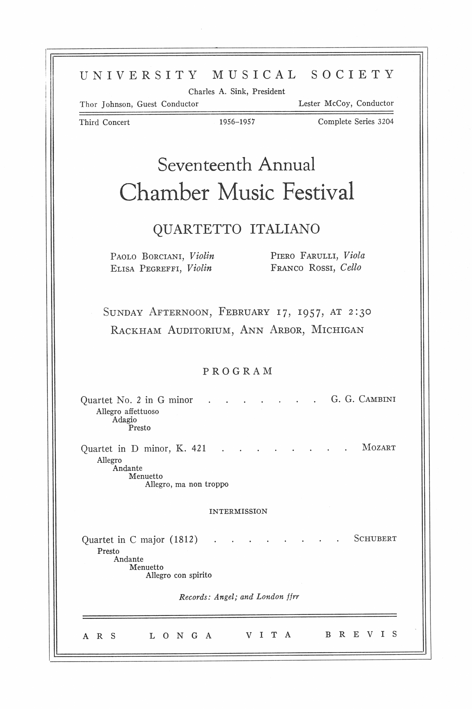 UMS Concert Program, February 17, 1957: Seventeenth Annual Chamber Music Festival -- Quartetto Italiano image