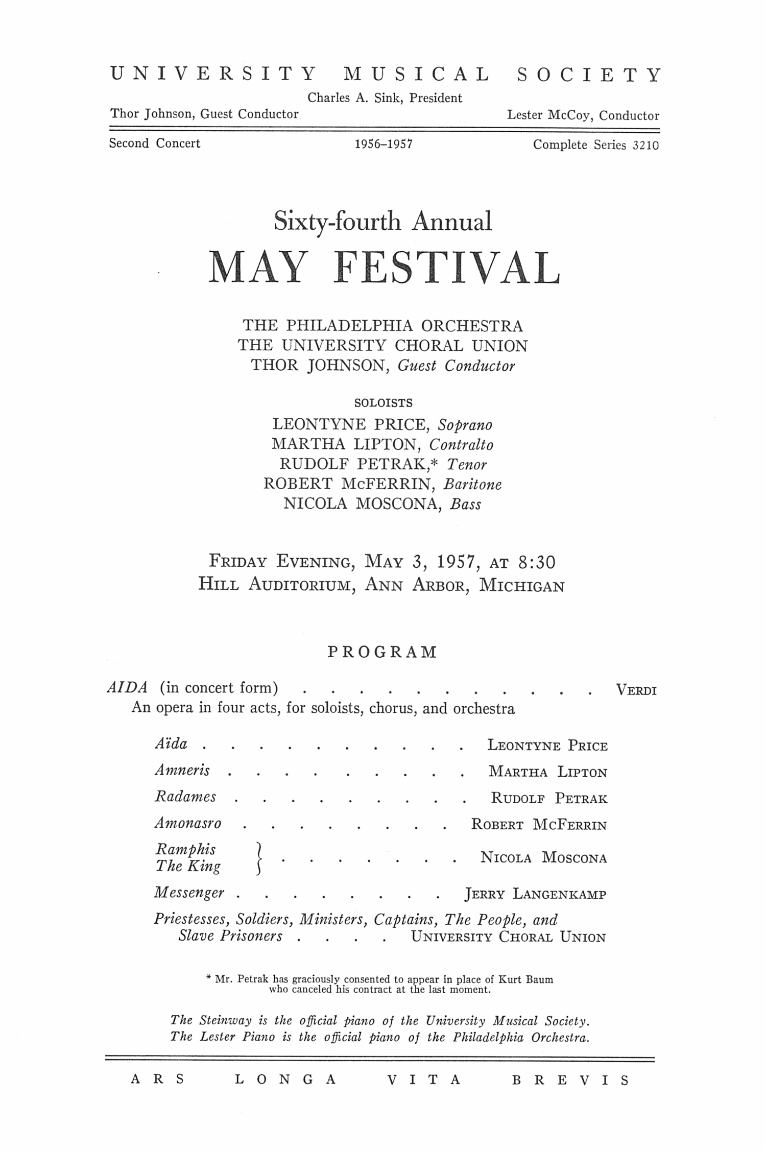 UMS Concert Program, May 3, 1957: Sixty-fourth Annual May Festival -- The Philadelphia Orchestra image