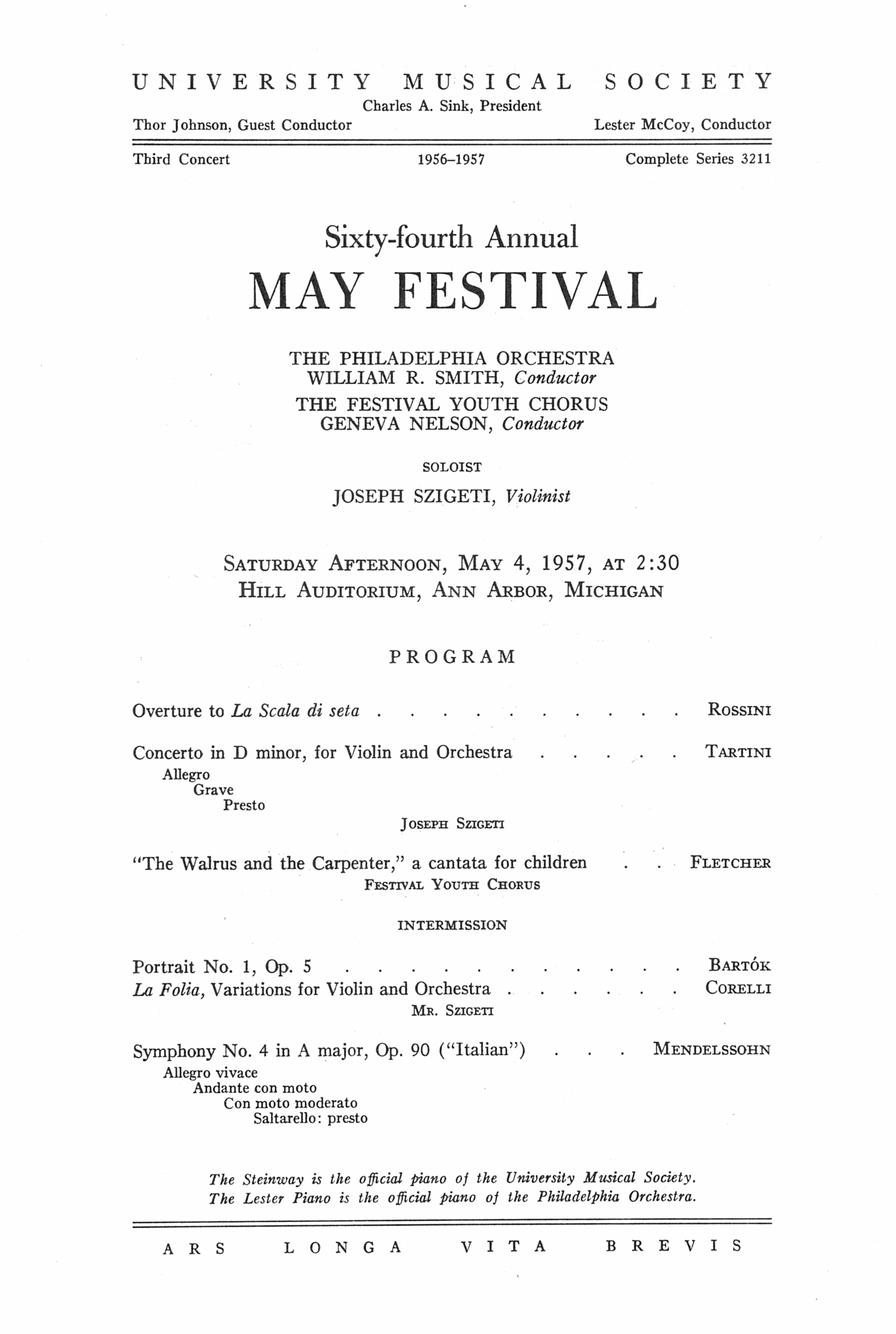 UMS Concert Program, May 4, 1957: Sixty-fourth Annual May Festival -- The Philadelphia Orchestra image