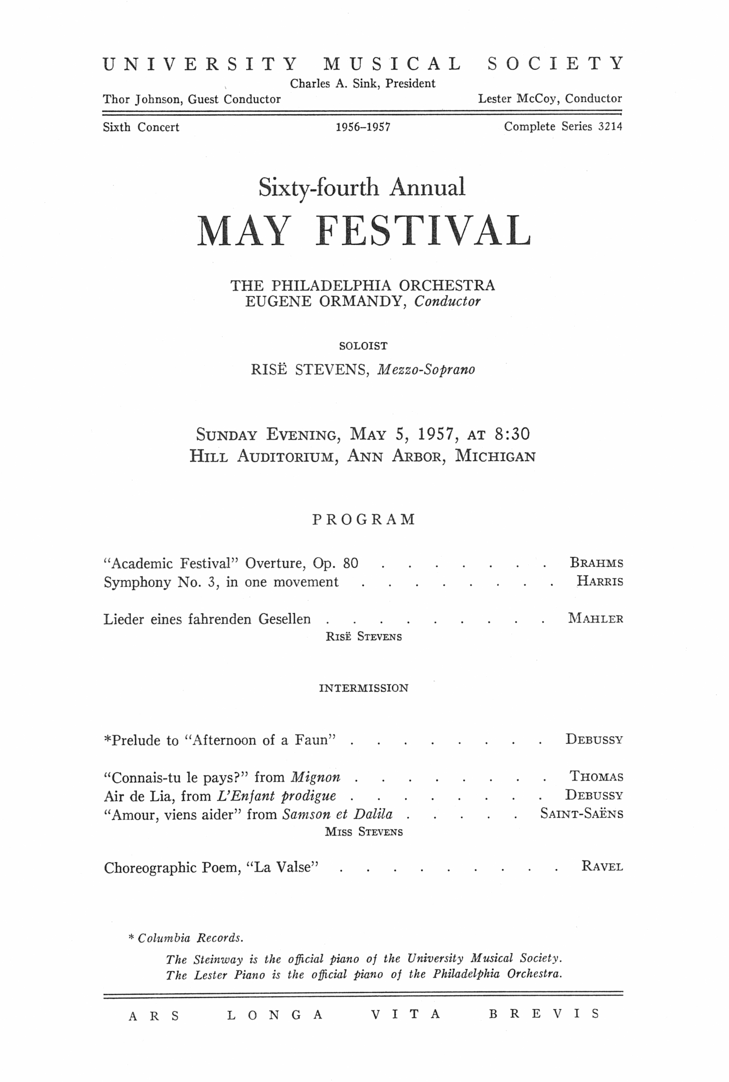 UMS Concert Program, May 5, 1957: Sixty-fourth Annual May Festival -- The Philadelphia Orchestra image