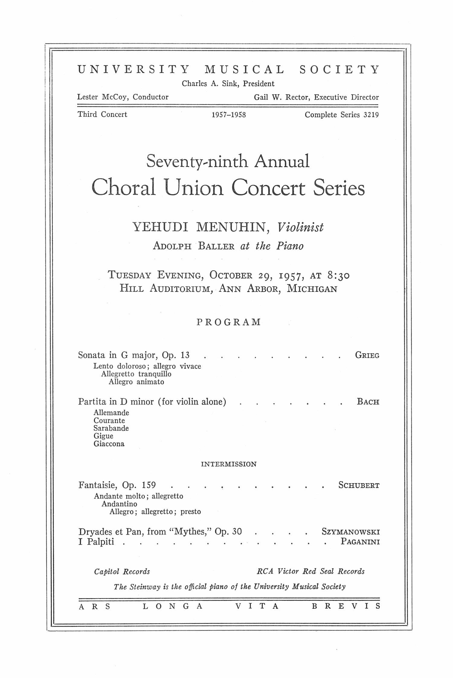 UMS Concert Program, October 29, 1957: Seventy-ninth Annual Choral Union Concert Series -- Yehudi Menuhin image