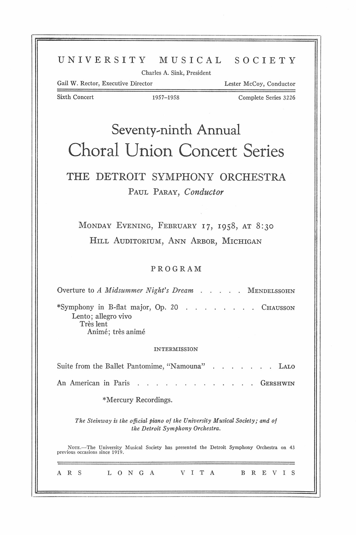 UMS Concert Program, February 17, 1958: Seventy-ninth Annual Choral Union Concert Series -- The Detroit Symphony Orchestra image
