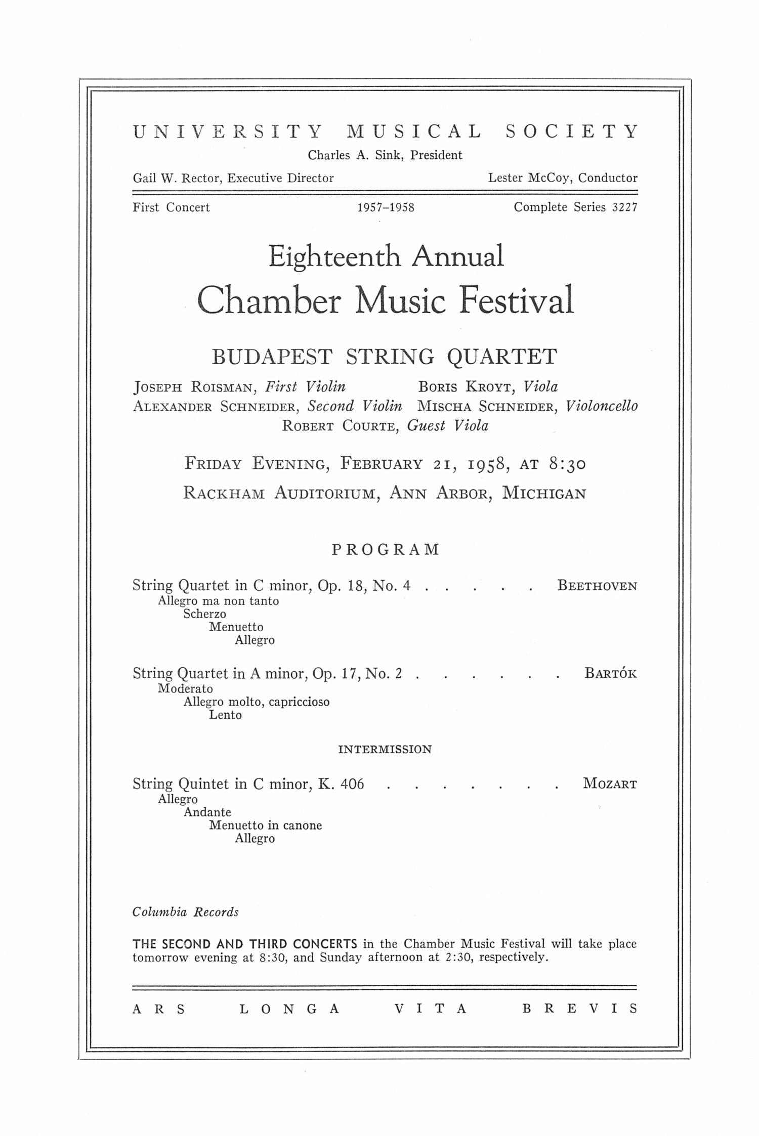 UMS Concert Program, February 21, 1958: Eighteenth Annual Chamber Music Festival -- Budapest String Quartet image